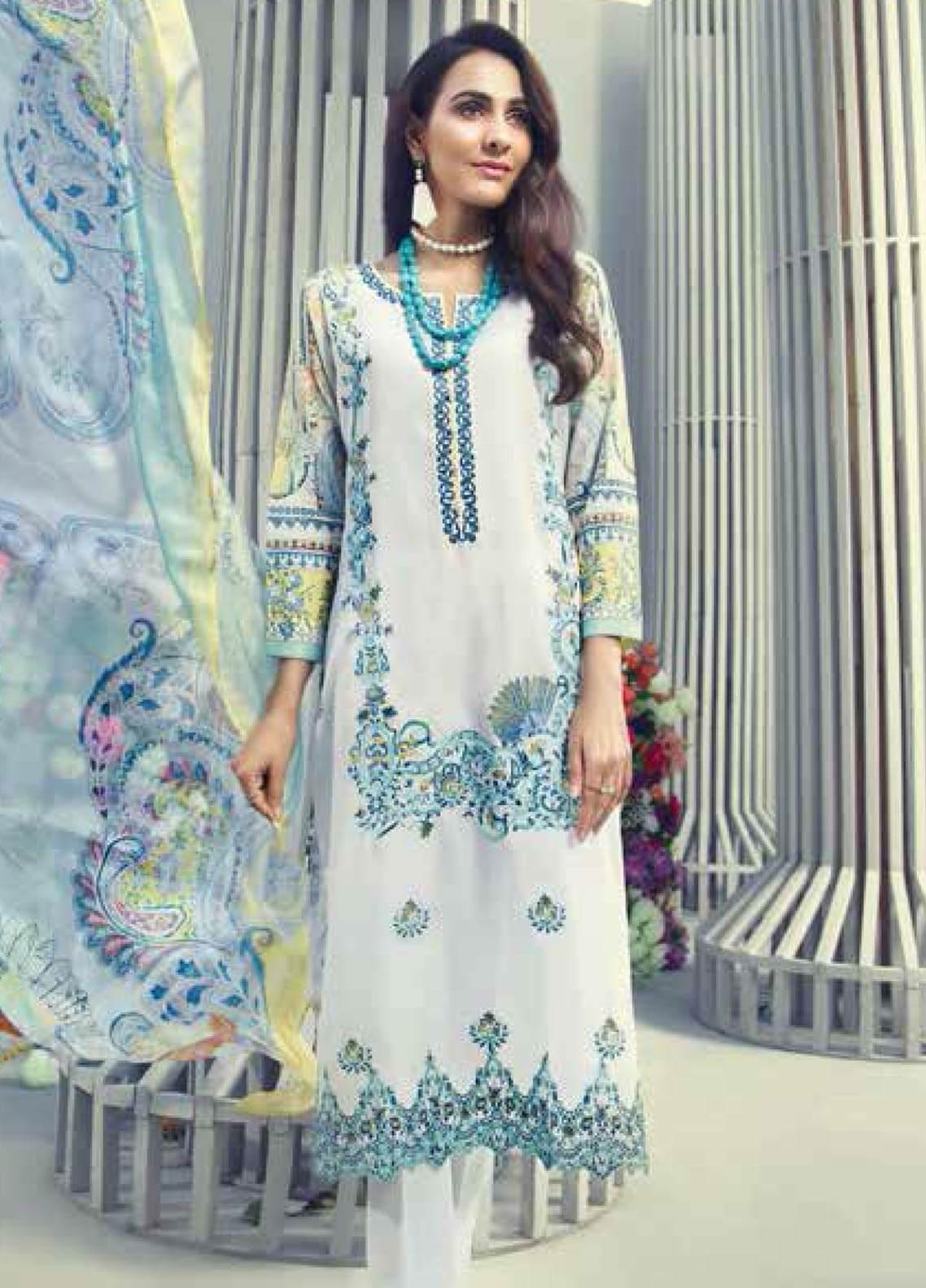 Gul Ahmed Embroidered Lawn Unstitched 3 Piece Suit GAM19-L2 SSM-18 - Mid Summer Collection
