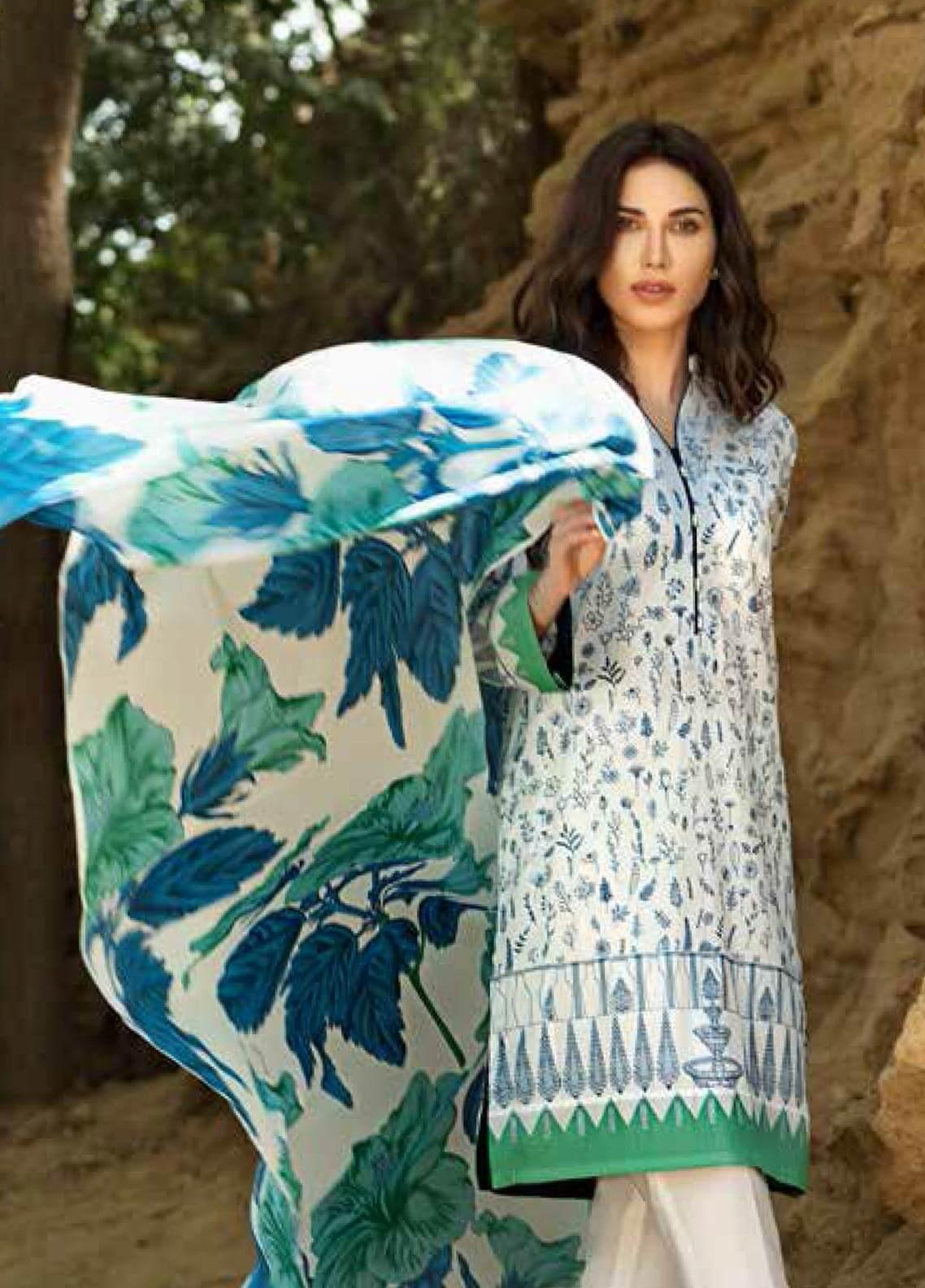 Gul Ahmed Printed Lawn Unstitched 2 Piece Suit GAM19-L2 TL-191B - Mid Summer Collection