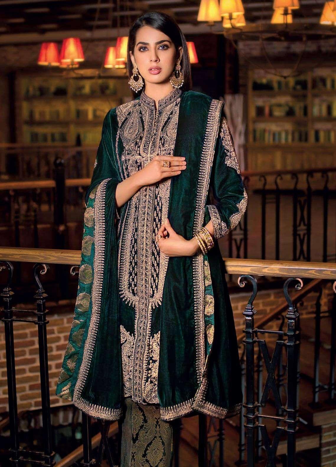 769f544796 Gul Ahmed Embroidered Velvet Unstitched 3 Piece Suit GA18V VLW 03 - Noor-e-