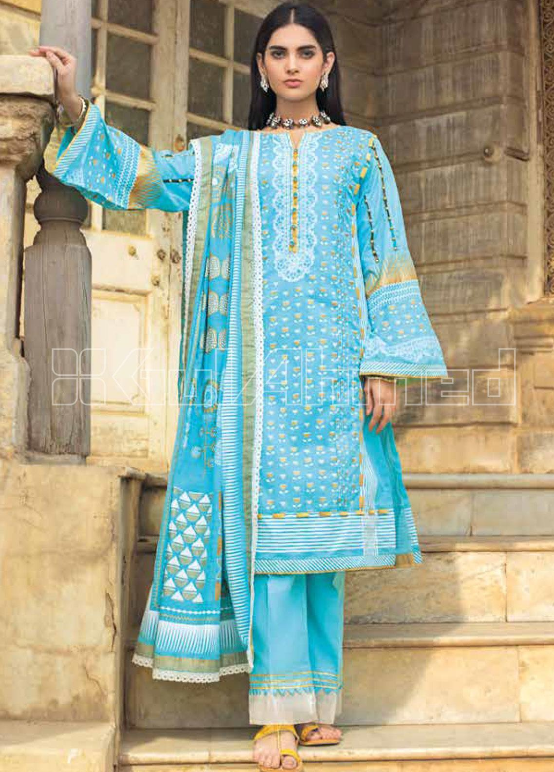 Gul Ahmed Printed Lawn Unstitched 3 Piece Suit GA20SBL ARZ 02 - Summer Collection