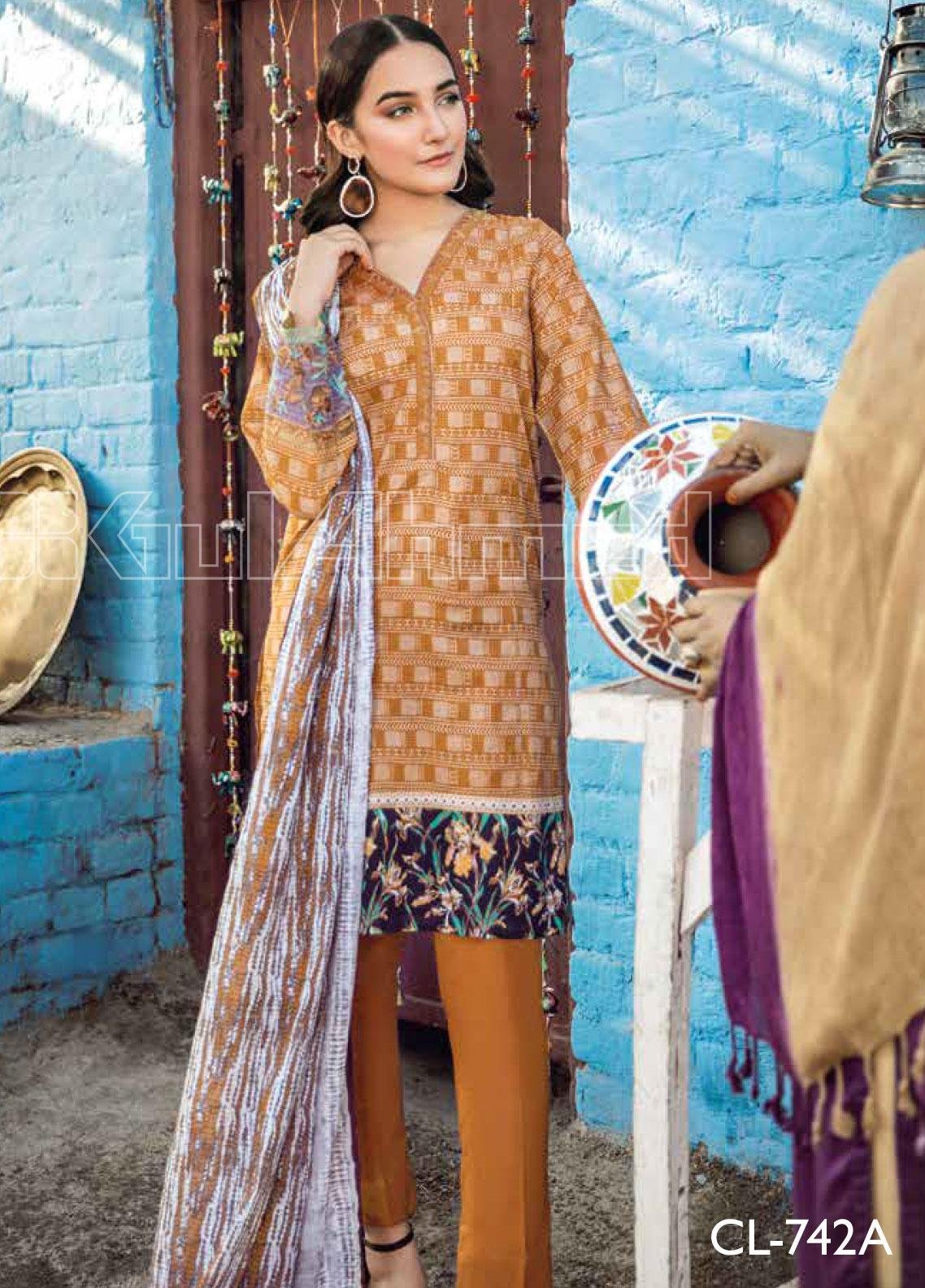 Gul Ahmed Embroidered Lawn Unstitched 3 Piece Suit GA20SBL CL 742 A - Summer Collection