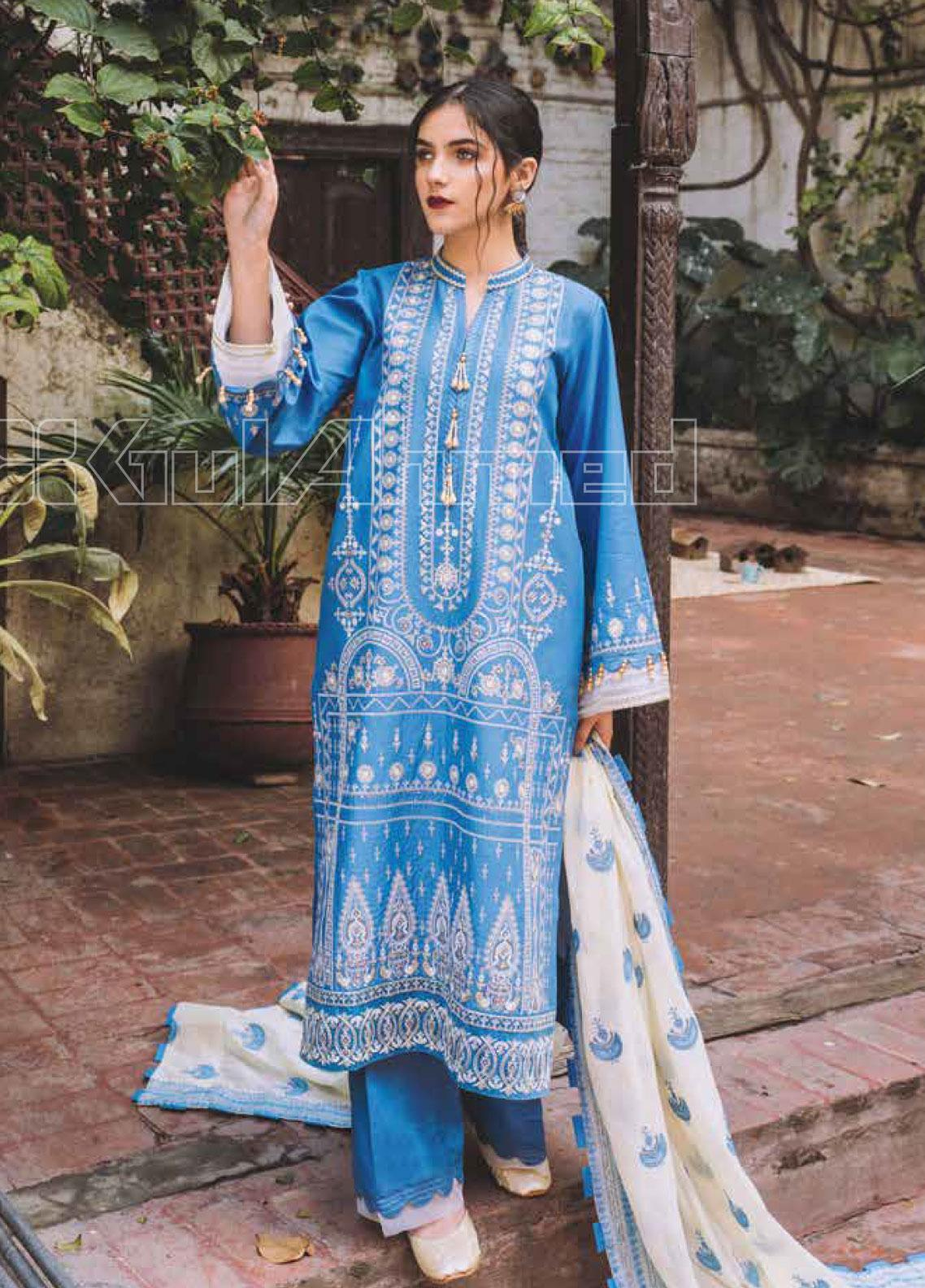 Gul Ahmed Embroidered Lawn Unstitched 3 Piece Suit GA20SBL CL 906 - Summer Collection