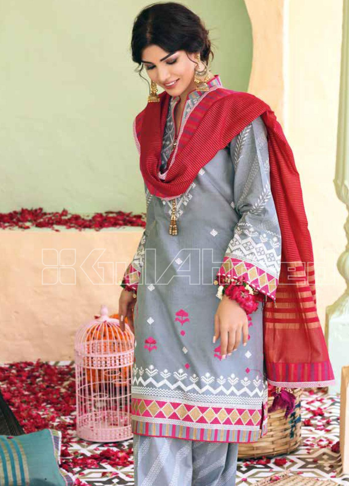 Gul Ahmed Embroidered Jacquard Unstitched 3 Piece Suit GA20SBL TD 01 - Summer Collection