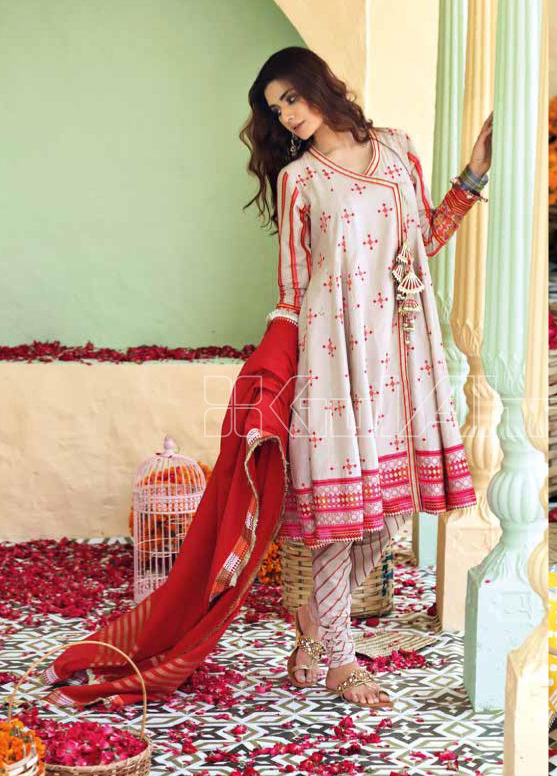 Gul Ahmed Embroidered Jacquard Unstitched 3 Piece Suit GA20SBL TD 05 - Summer Collection