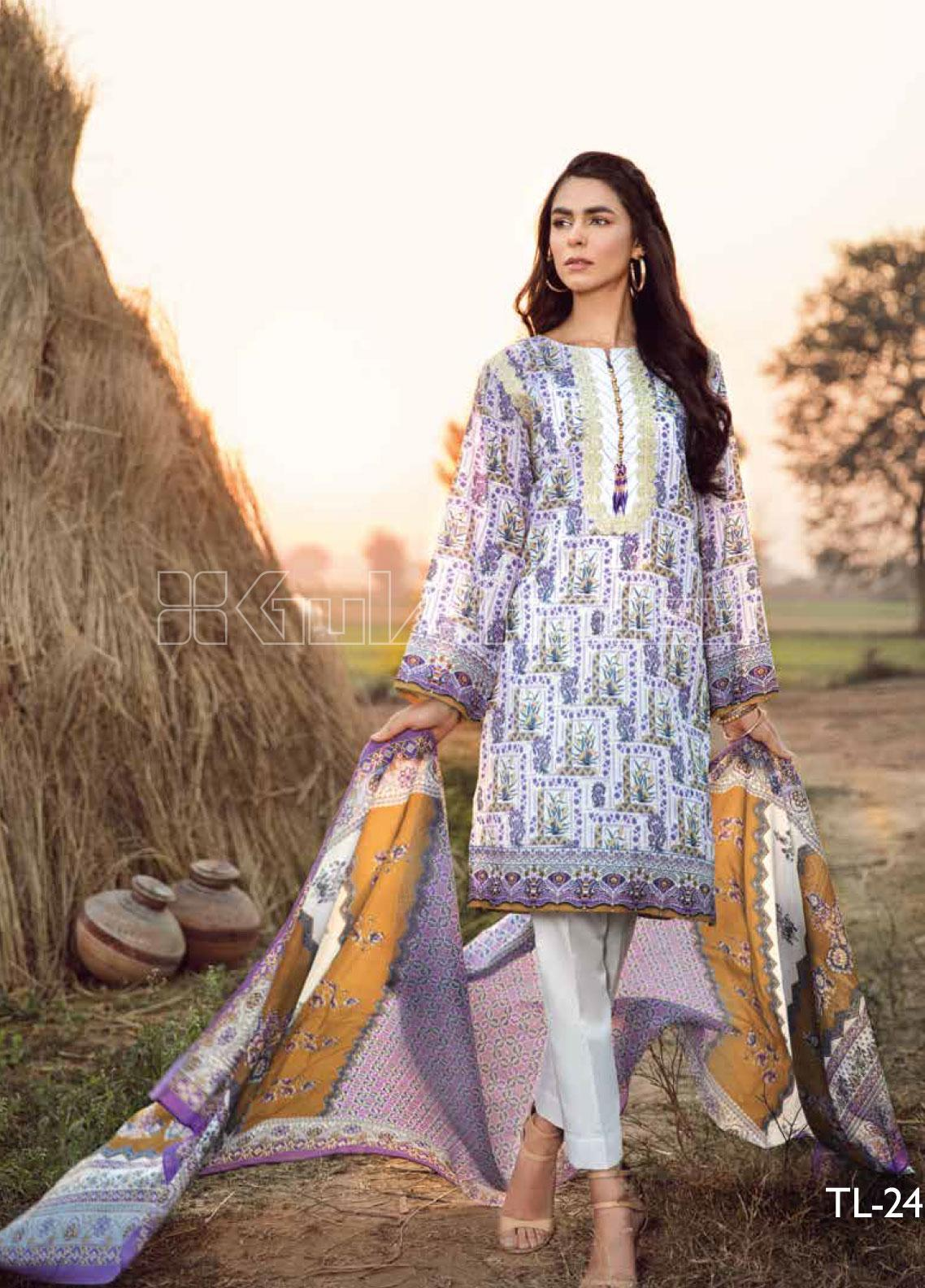 Gul Ahmed Embroidered Lawn Unstitched 2 Piece Suit GA20SBL TL 246A - Summer Collection