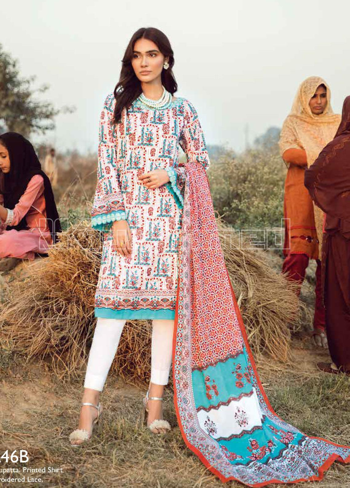 Gul Ahmed Embroidered Lawn Unstitched 2 Piece Suit GA20SBL TL 246B - Summer Collection