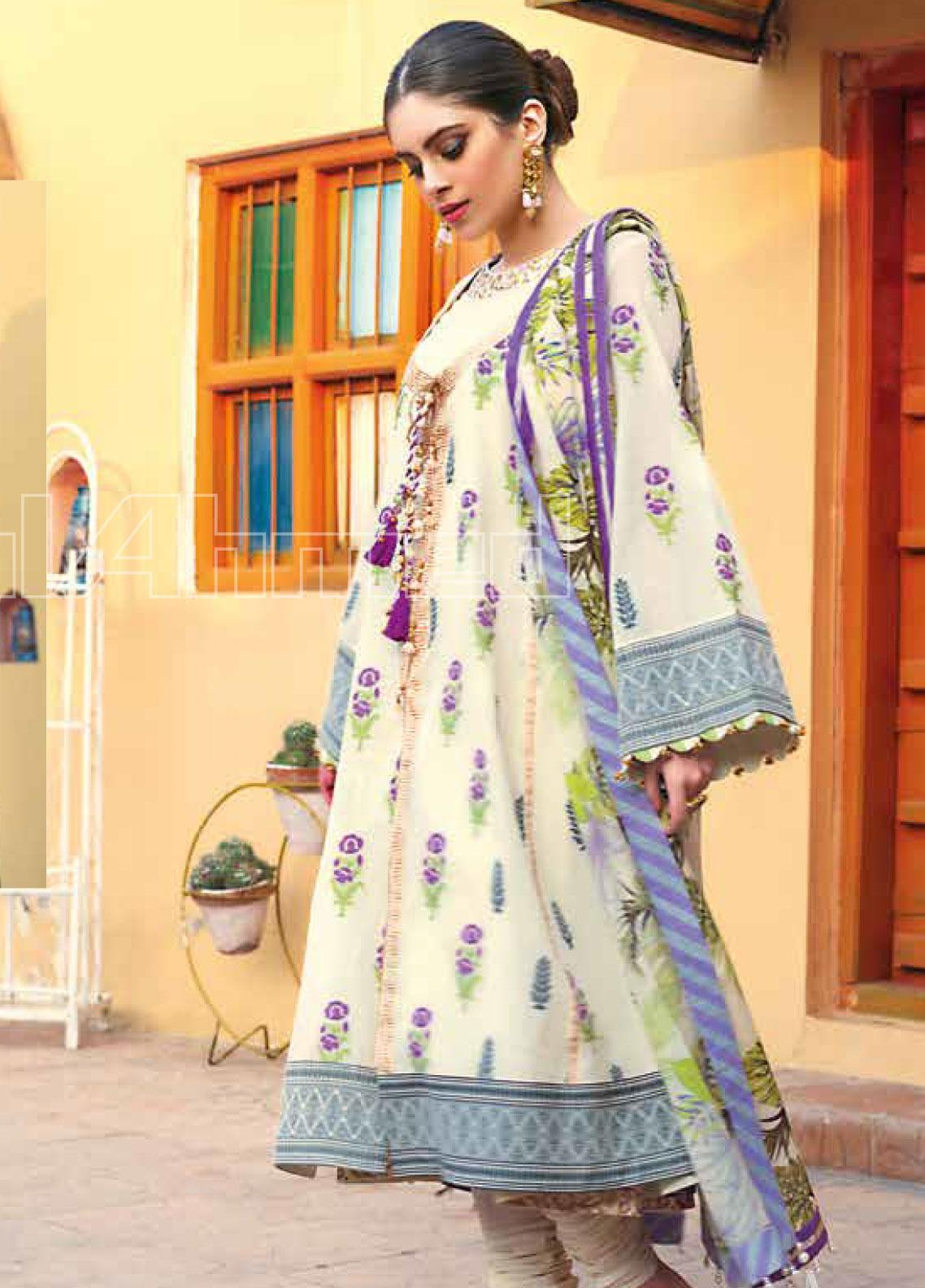 Gul Ahmed Printed Jacquard Unstitched 3 Piece Suit GA20SBL TR 04 - Summer Collection
