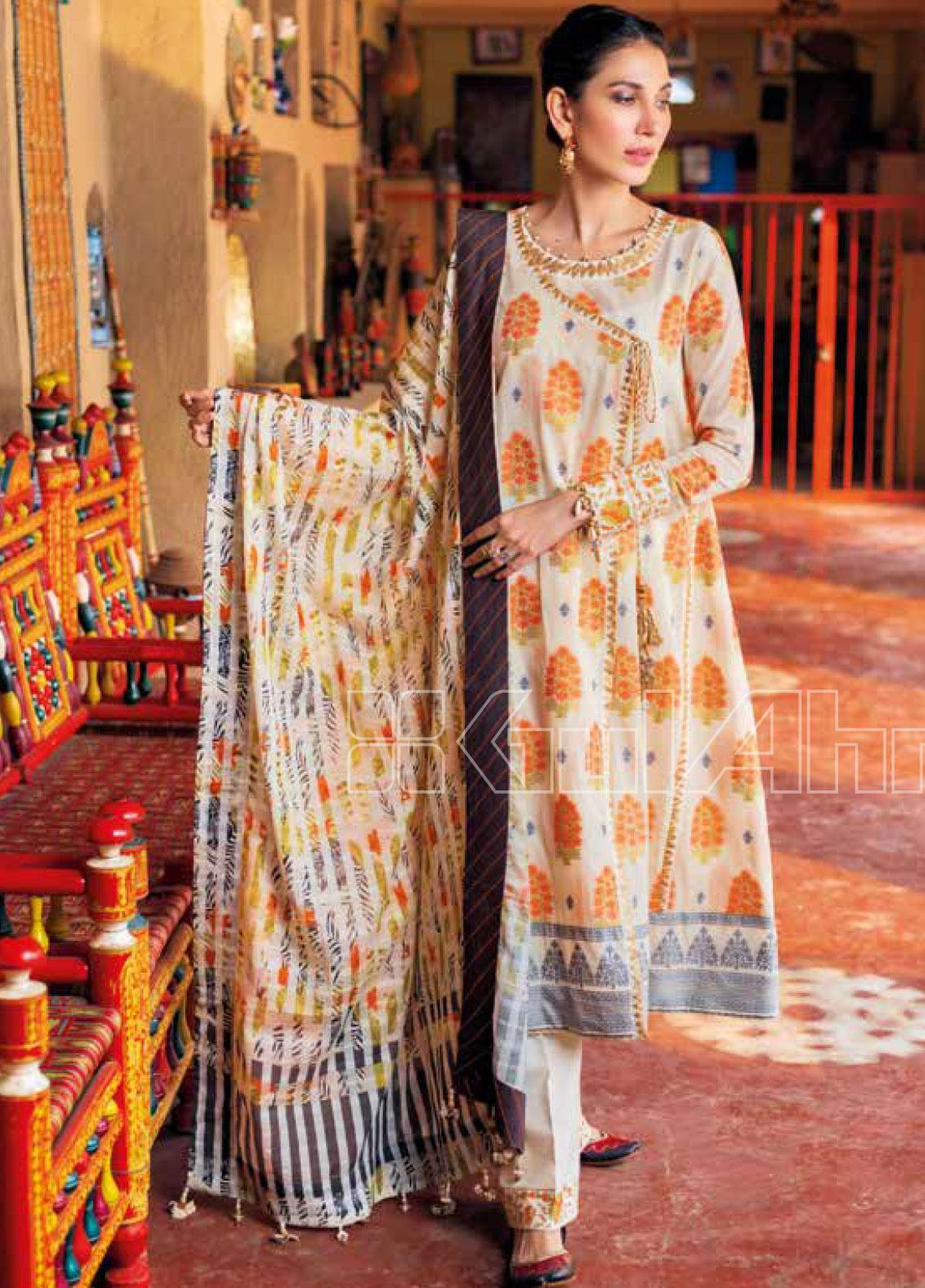 Gul Ahmed Printed Jacquard Unstitched 3 Piece Suit GA20SBL TR 05 - Summer Collection
