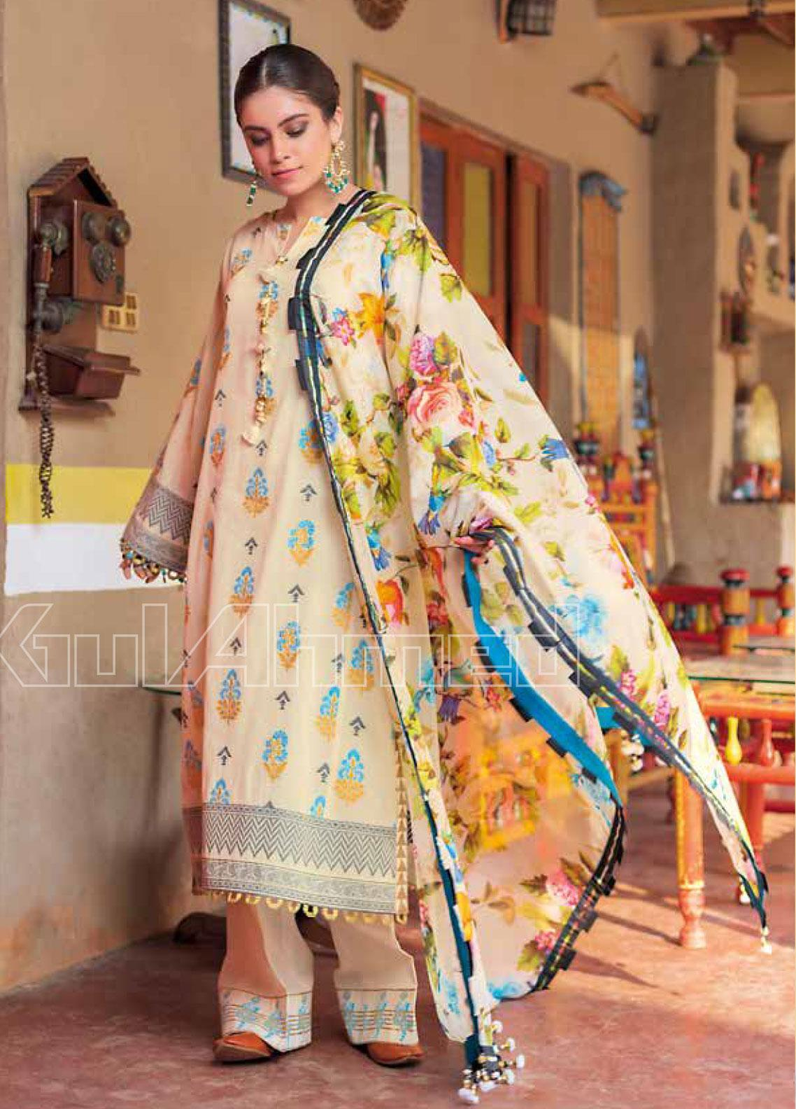 Gul Ahmed Printed Jacquard Unstitched 3 Piece Suit GA20SBL TR 06 - Summer Collection