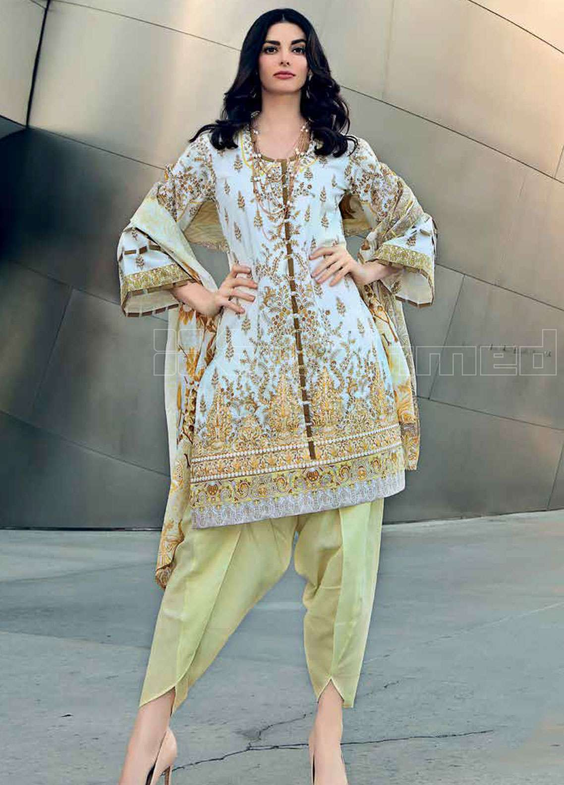 166947f7d7 Gul Ahmed Embroidered Lawn Unstitched 3 Piece Suit GAE19L CL-505 B - Spring  / Summer Collection