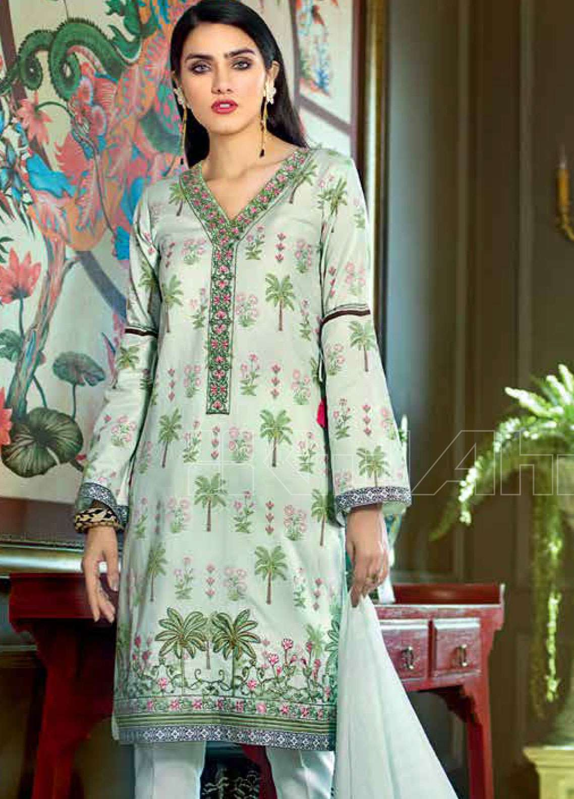 47aabb1ed6 Gul Ahmed Embroidered Lawn Unstitched 3 Piece Suit GAE19L CL-512 B - Spring  / Summer Collection