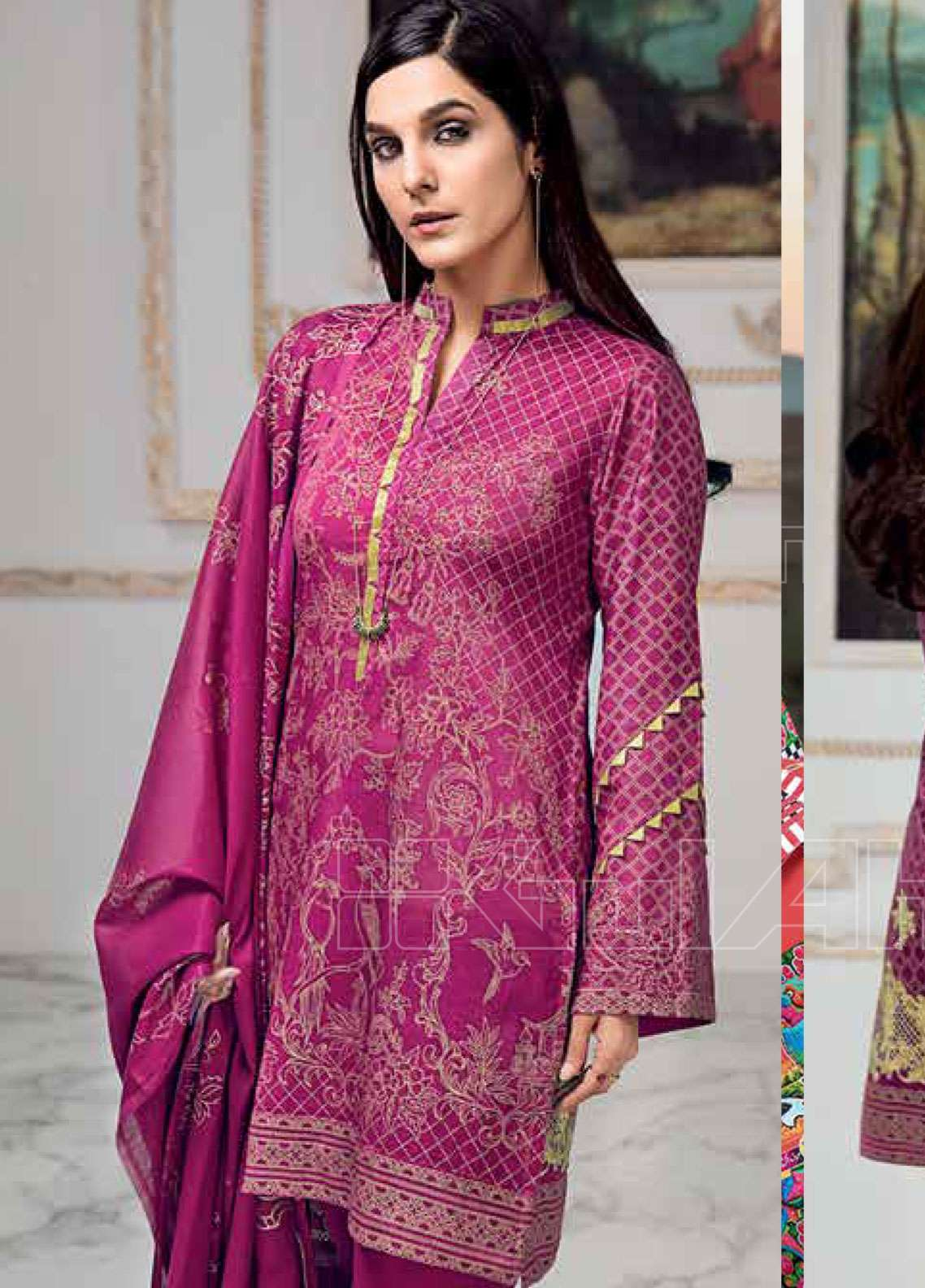 48f3a9323e Gul Ahmed Embroidered Lawn Unstitched 3 Piece Suit GAE19L CL-530 B - Spring  / Summer Collection