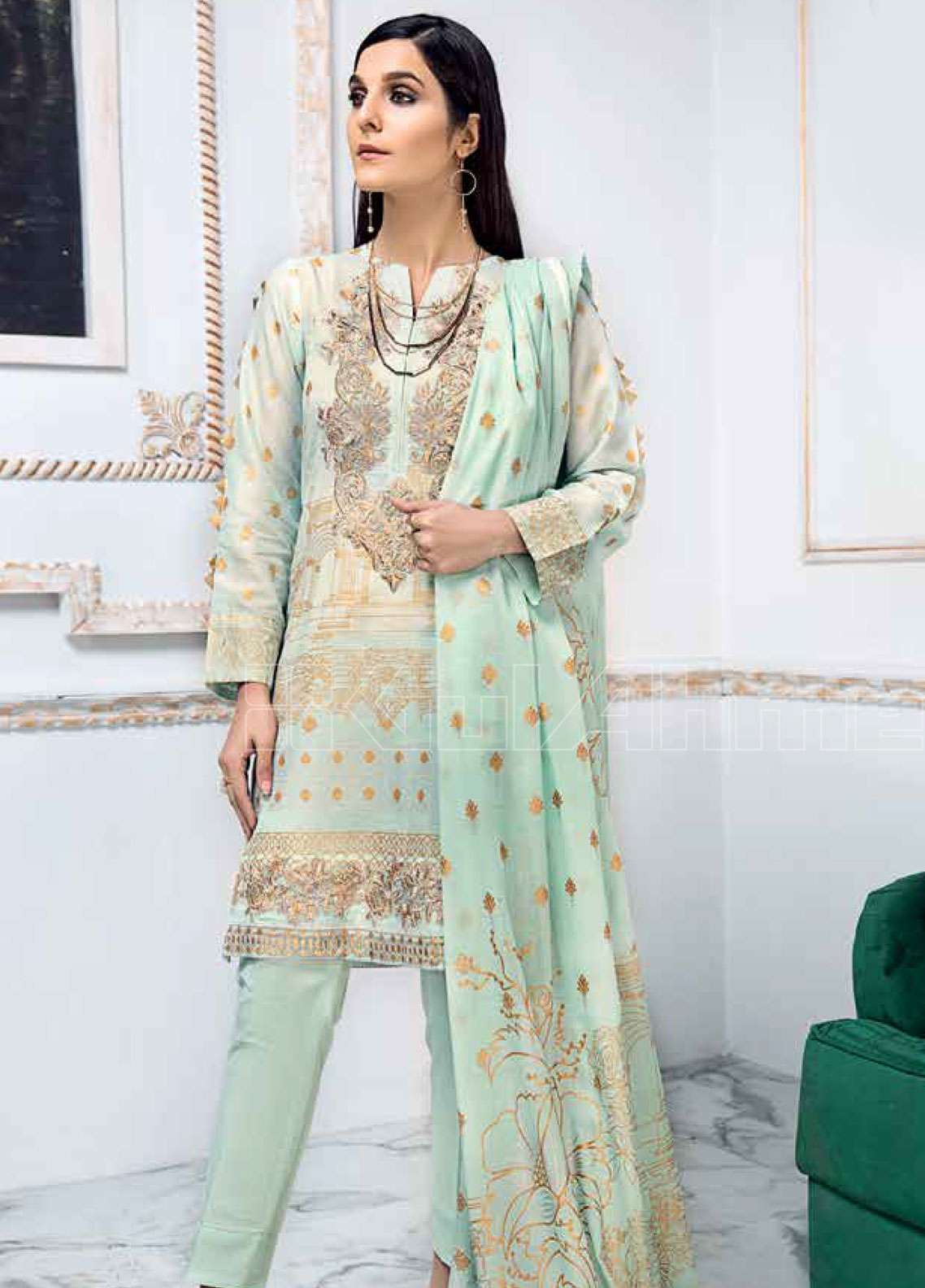 82109976c1 Gul Ahmed Embroidered Lawn Unstitched 3 Piece Suit GAE19L CL-531 B - Spring  / Summer Collection