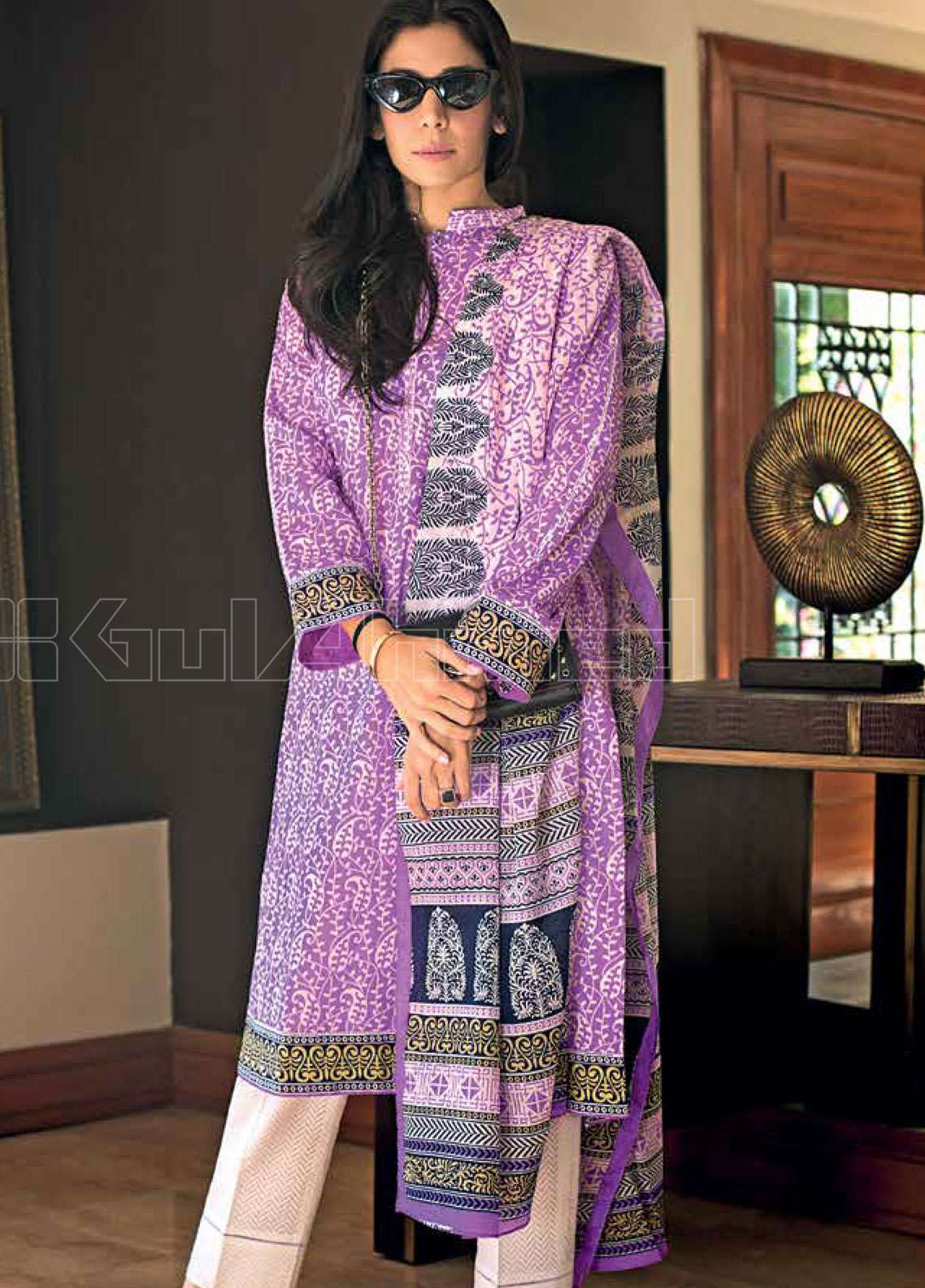 aba0e01972 Gul Ahmed Printed Lawn Unstitched 3 Piece Suit GAE19L CL-577 B - Spring /  Summer Collection
