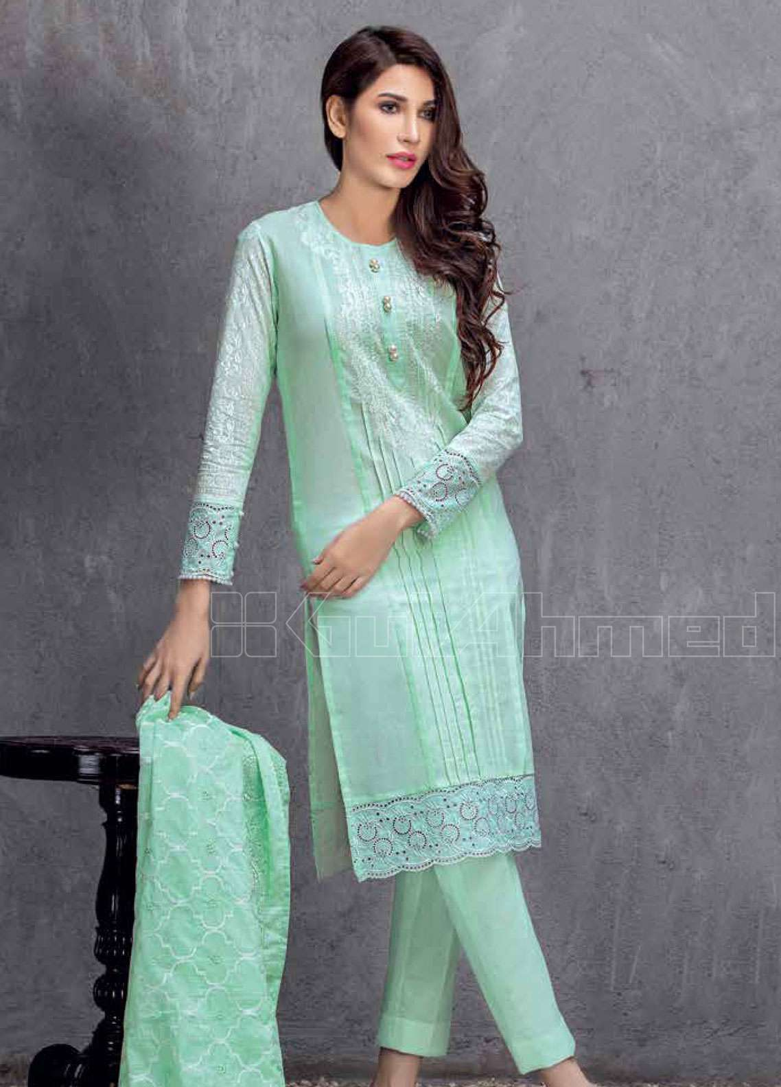 c72f72f8d3 Gul Ahmed Embroidered Lawn Unstitched 3 Piece Suit GAE19L CL-599 A - Spring  / Summer Collection