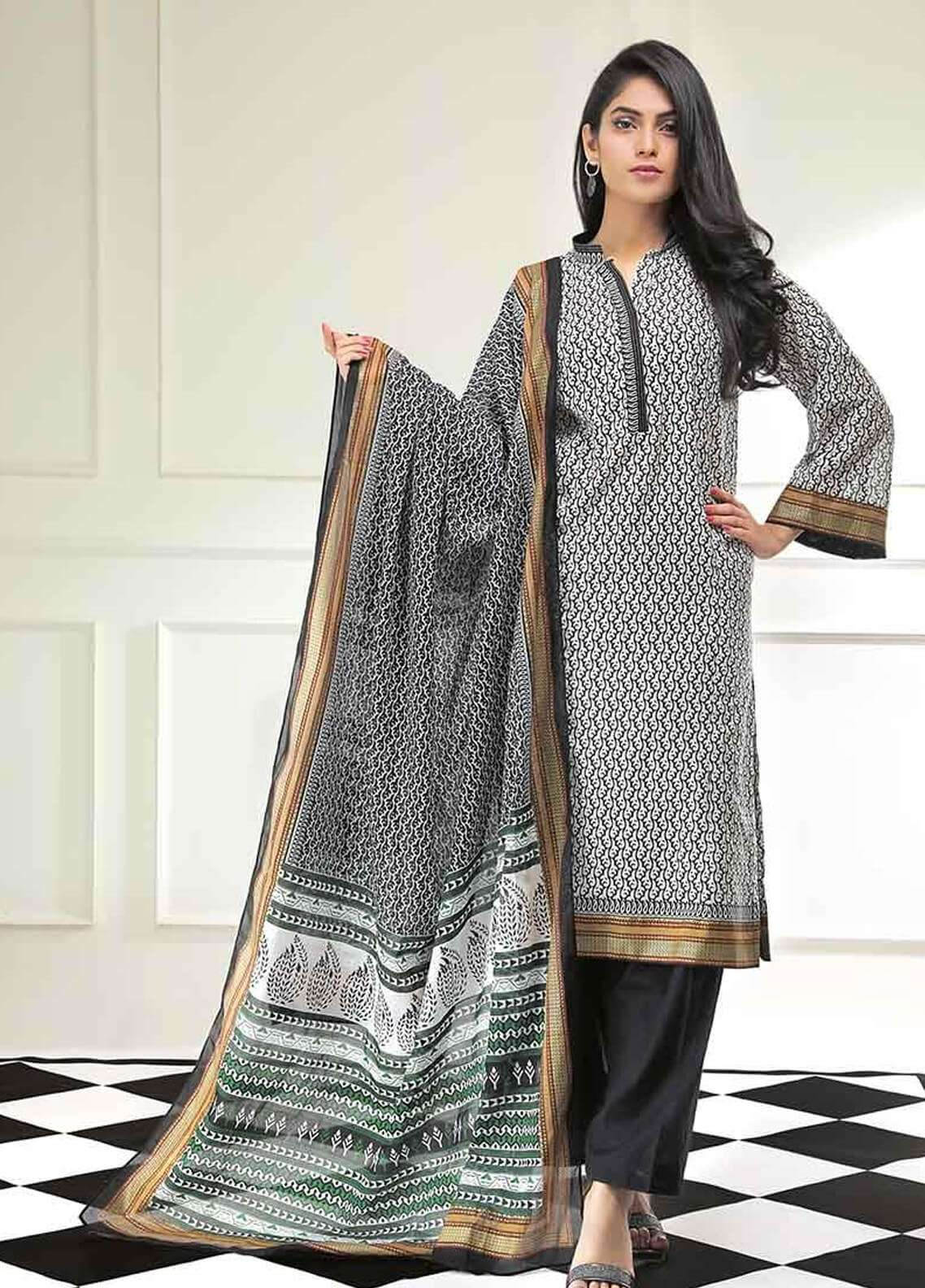 cc0ec3adef Gul Ahmed Printed Lawn Unstitched 2 Piece Suit GAE19L TL-178 B - Spring /  Summer Collection