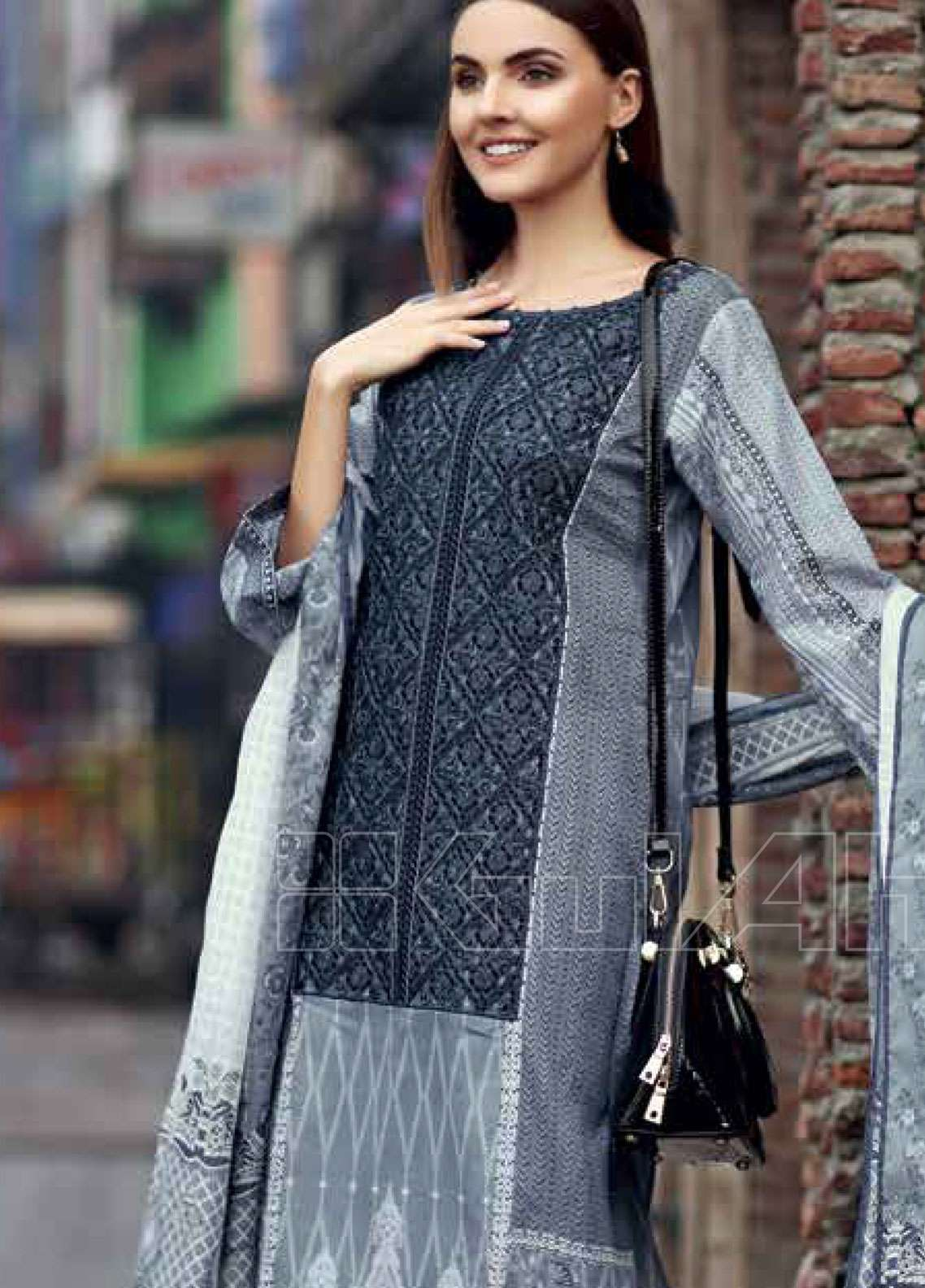 e27c93e9b1 Gul Ahmed Embroidered Lawn Unstitched 2 Piece Suit GAE19L TL-205 A - Spring  / Summer Collection