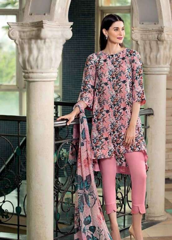 Gul Ahmed Printed Linen Unstitched 3 Piece Suit GAP19L BLC-16 - Spring / Summer Collection