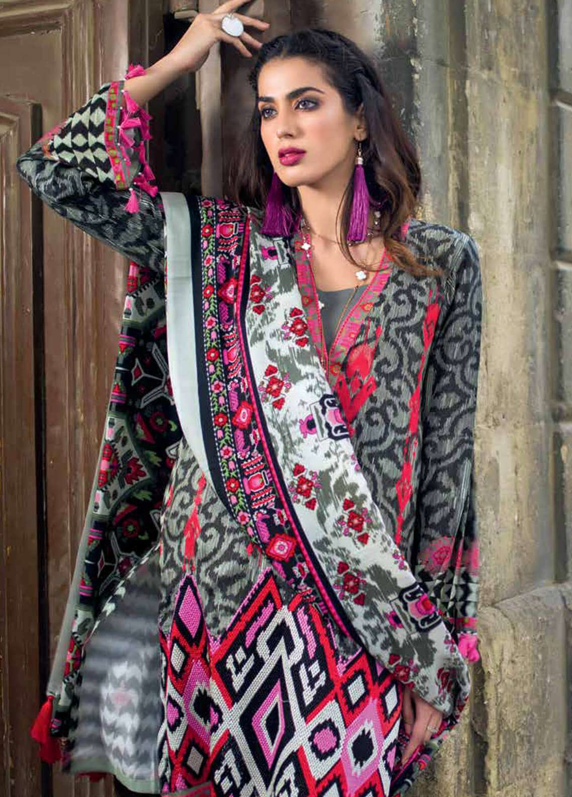 Gul Ahmed Embroidered Pashmina Unstitched 3 Piece Suit GA18W AP07 - Winter Collection