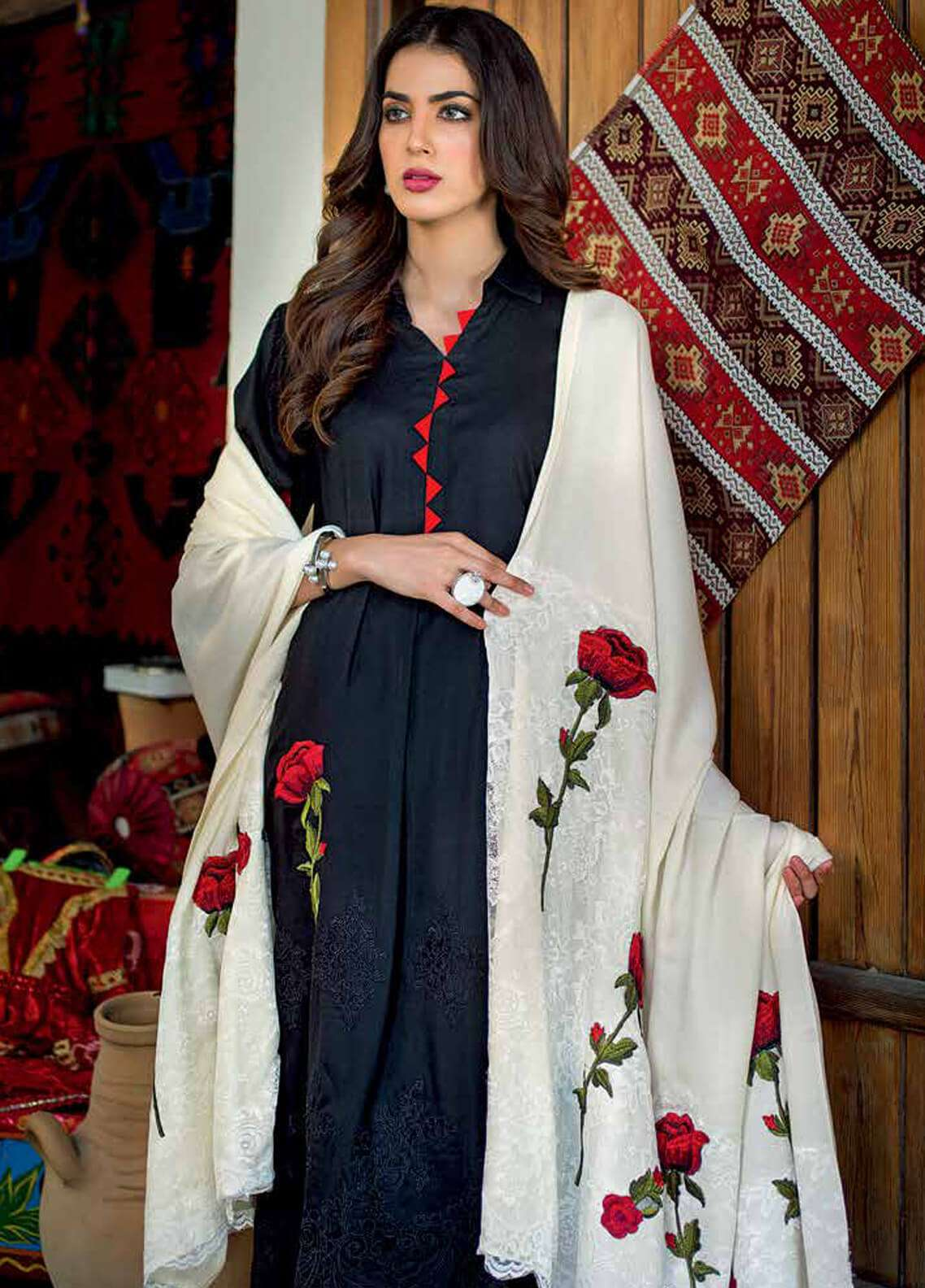 Gul Ahmed Embroidered Pashmina Unstitched 3 Piece Suit GA18W APE03 - Winter Collection