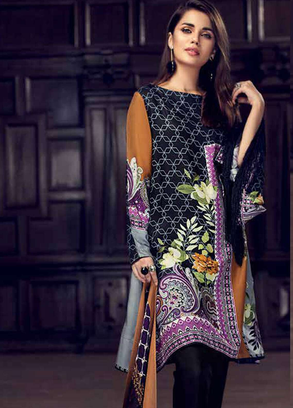 Gul Ahmed Printed Silk Unstitched 3 Piece Suit GA18W SW43 - Winter Collection