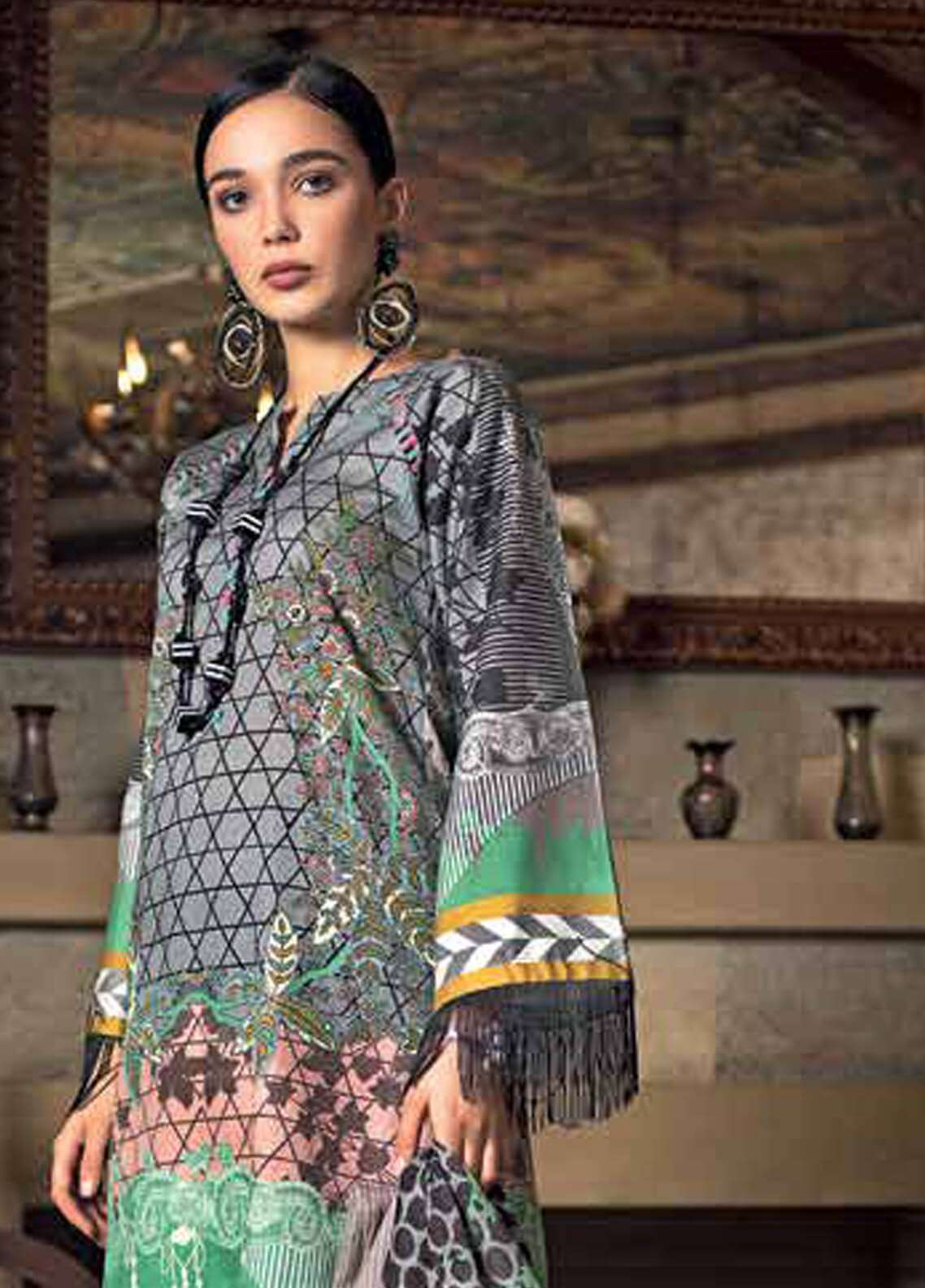 Gul Ahmed Printed Cotton Unstitched 2 Piece Suit GA18W TCD11A - Winter Collection