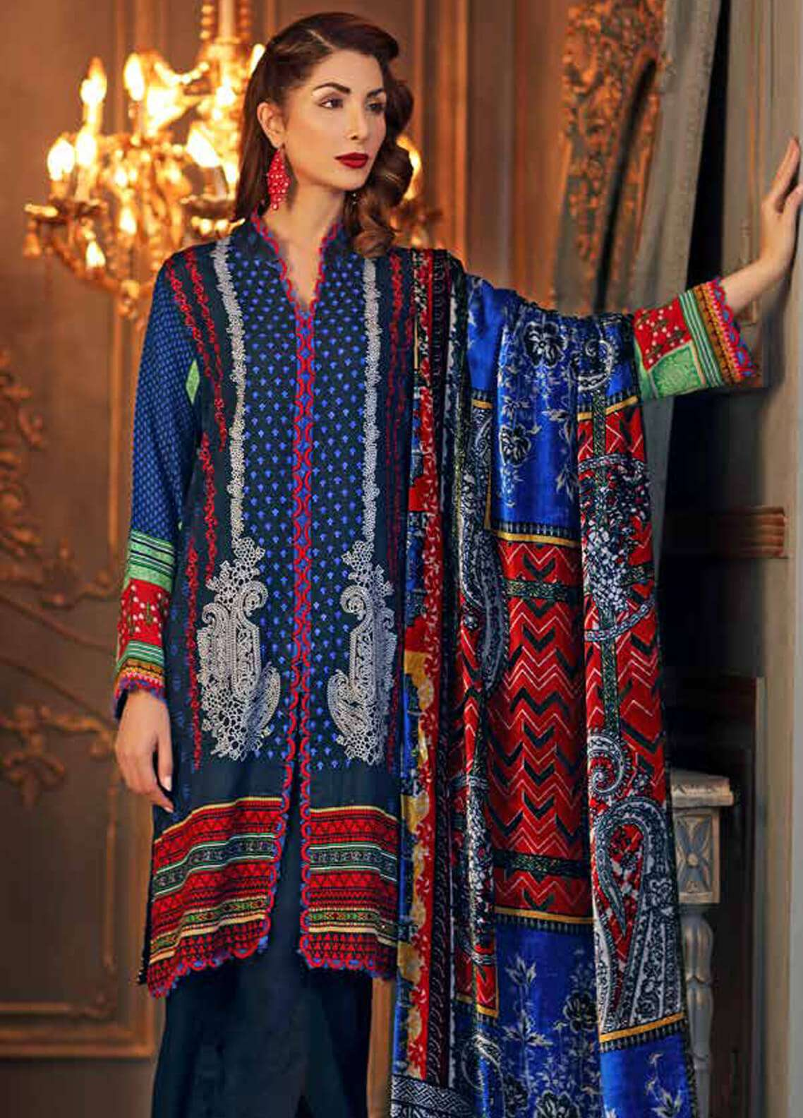 Gul Ahmed Embroidered Velvet Unstitched 3 Piece Suit GA18W VL73 - Winter Collection