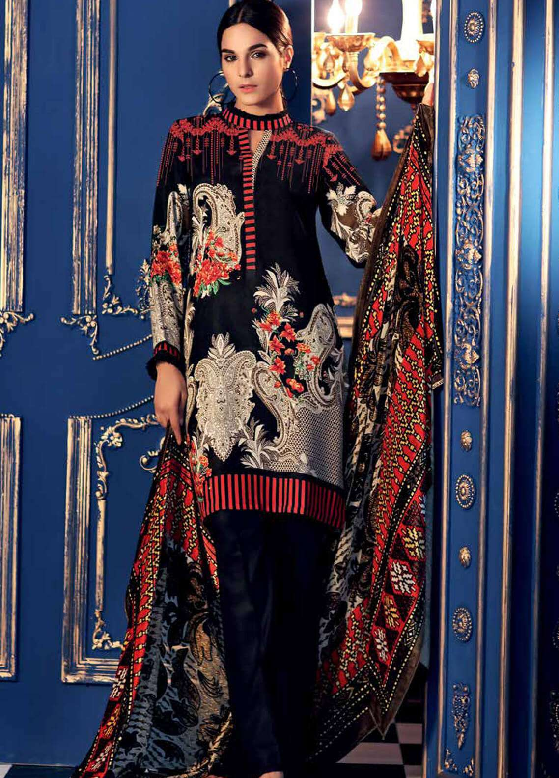 Gul Ahmed Embroidered Velvet Unstitched 3 Piece Suit GA18W VL83 - Winter Collection