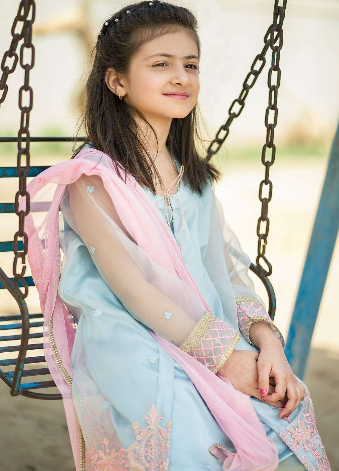 Gulaal Chiffon Embroidered 3 Piece Suit for Girls - Ice Blue KS-01-18