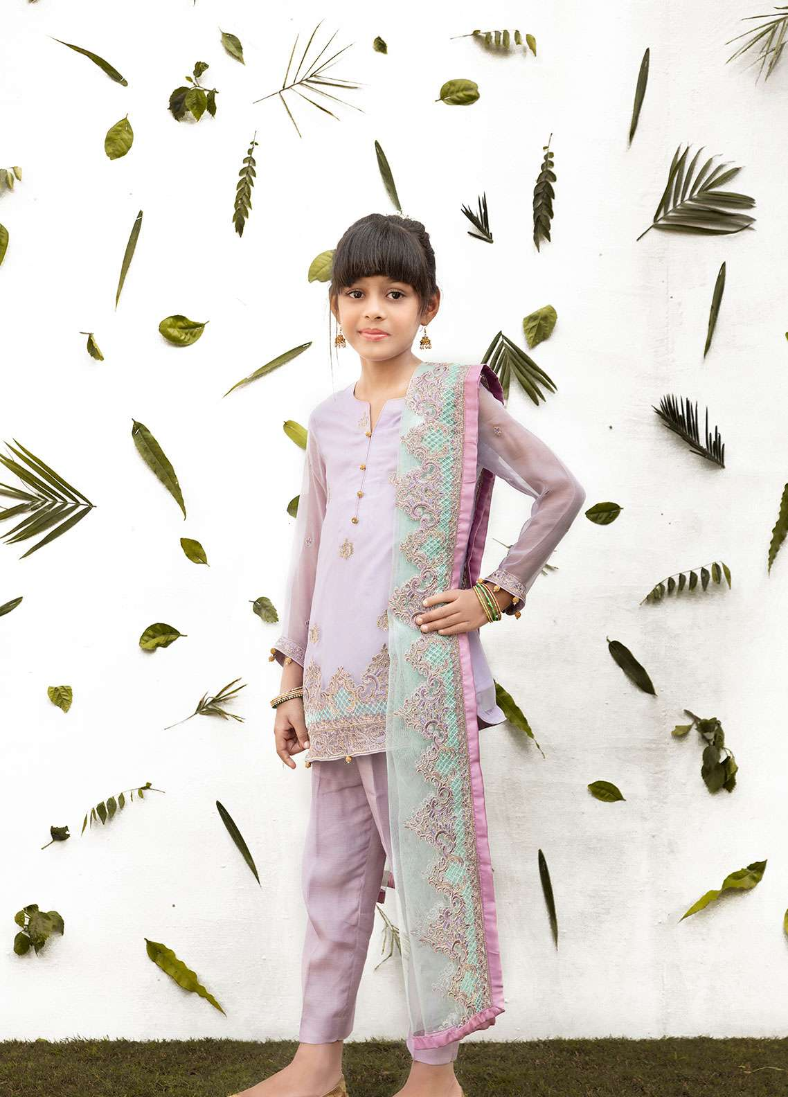 Gulaal Chiffon Embroidered Girls 3 Piece Suit - Purple KW-02