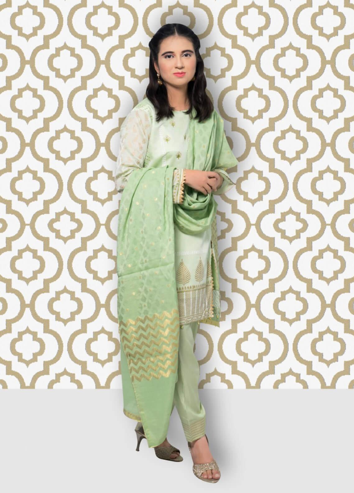 1b4b6a4e8b Gulaal Embroidered Chiffon Stitched 3 Piece Suit SK-01 Green
