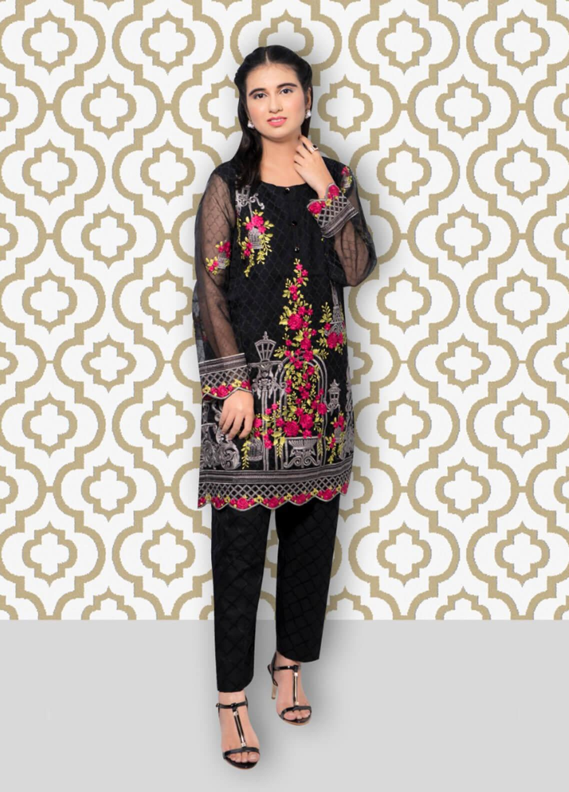 9e2d51a1a6 ... Gulaal Embroidered Organza Stitched Kurtis SK-03 Black. < Previous Next  > · hover