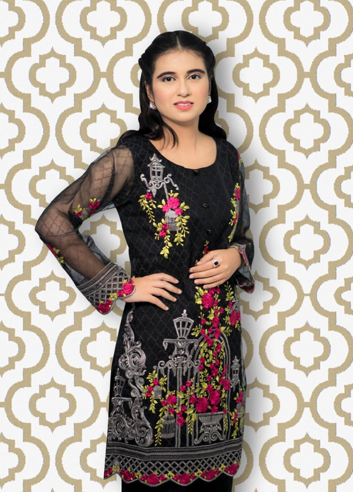6645a53280 Gulaal Embroidered Organza Stitched Kurtis SK-03 Black