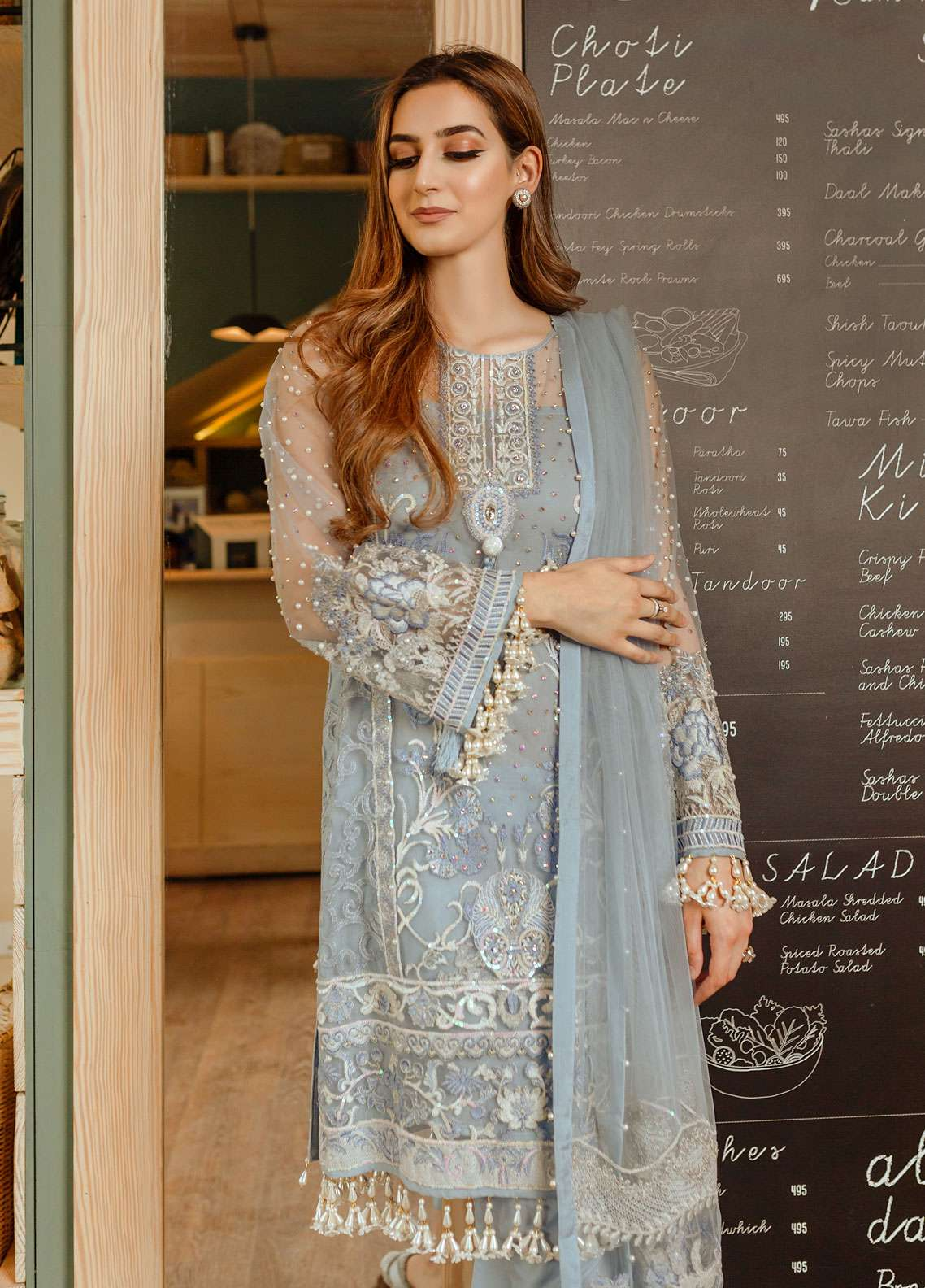 Gulaal Embroidered Zari Net Unstitched 3 Piece Suit GL19E 02 IRIDESCENT - Eid Collection