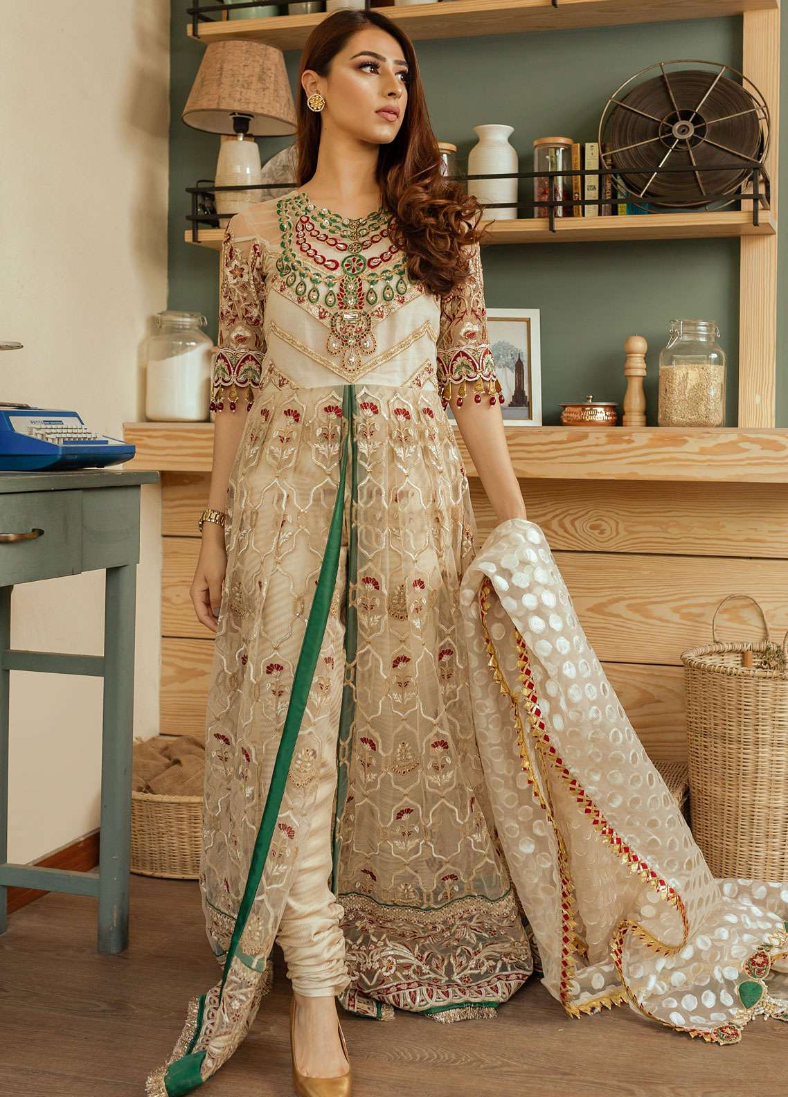 Gulaal Embroidered Zari Net Unstitched 3 Piece Suit GL19E 03 PEARL DROP - Eid Collection