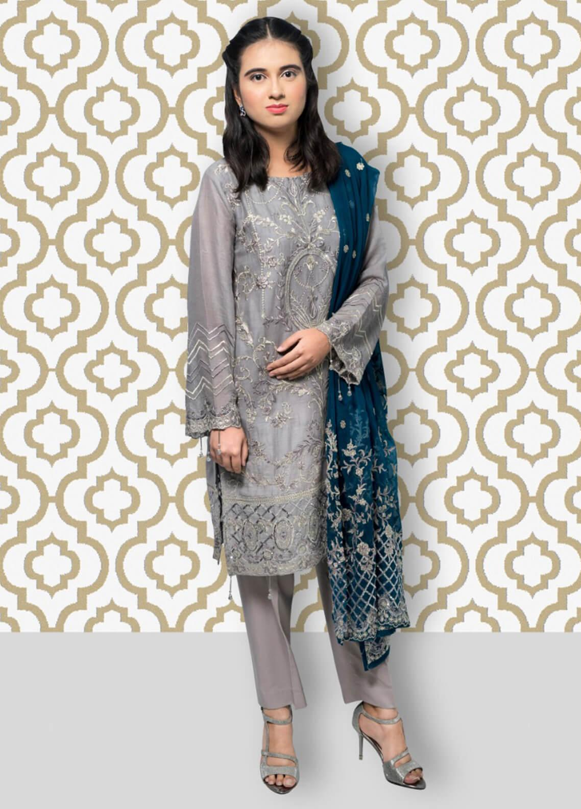 Gulaal Embroidered Cotton Net Stitched 3 Piece Suit SK-04 Grey