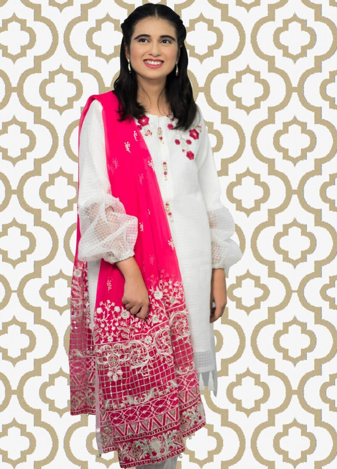 b33c60ad7e Gulaal Embroidered Cotton Net Stitched 3 Piece Suit SK-05 White