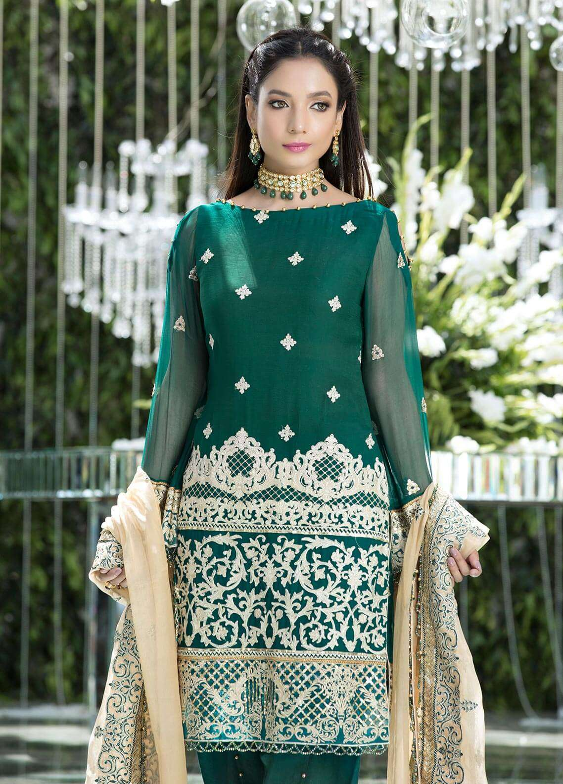 Gulaal Embroidered Chiffon Unstitched 3 Piece Suit GL18W 04 - Wedding Collection