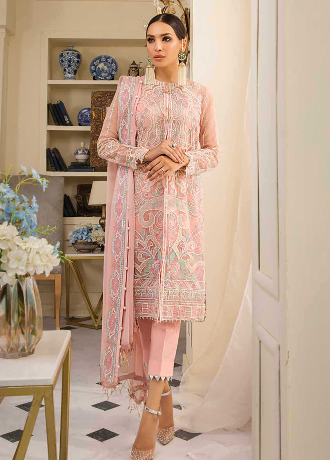Gulaal Embroidered Organza Unstitched 3 Piece Suit GL19F 04 PECHE - Luxury Collection