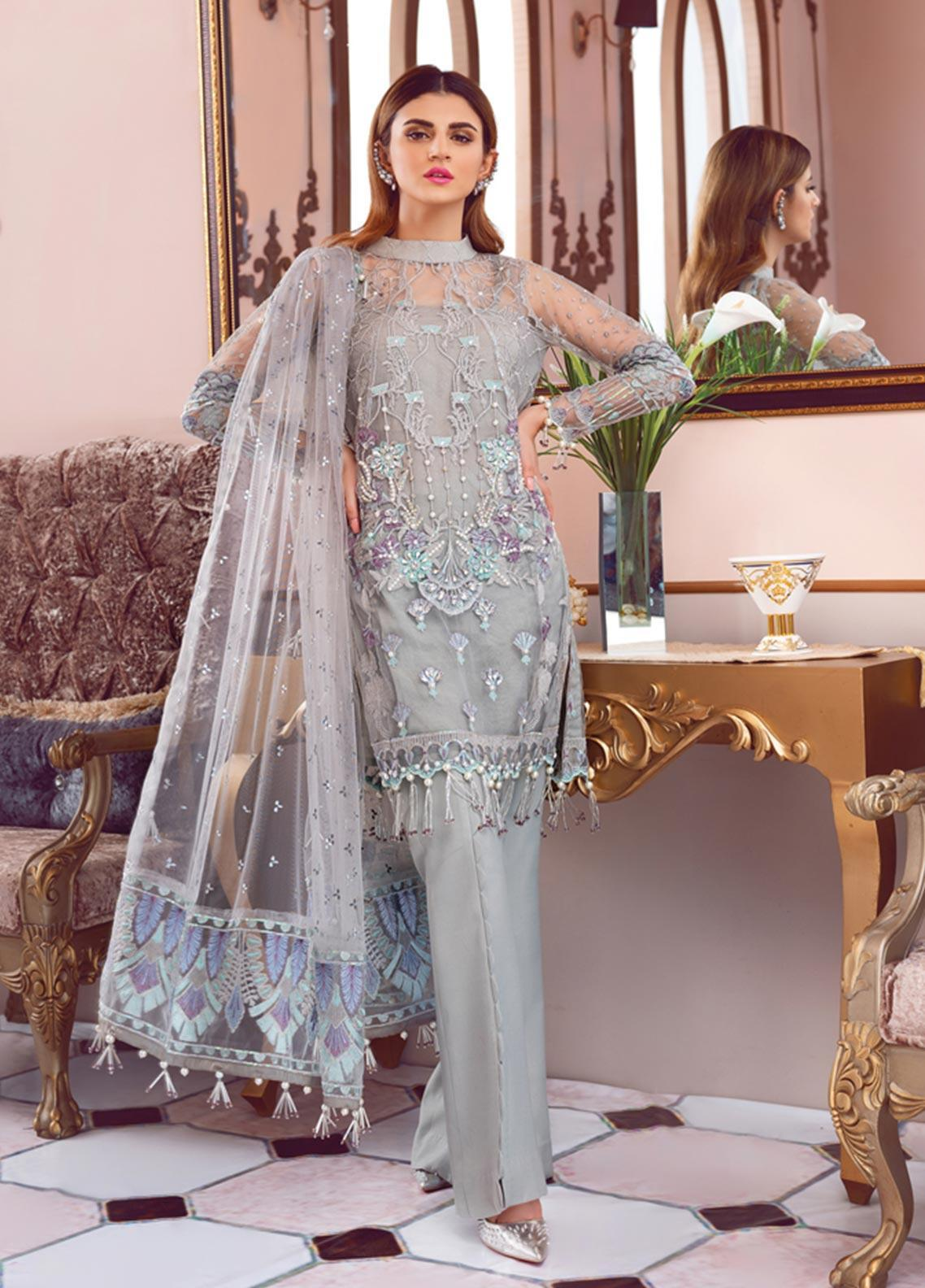 Gulaal Embroidered Zari Net Unstitched 3 Piece Suit GL19-LF2 6 LISSE - Luxury Collection