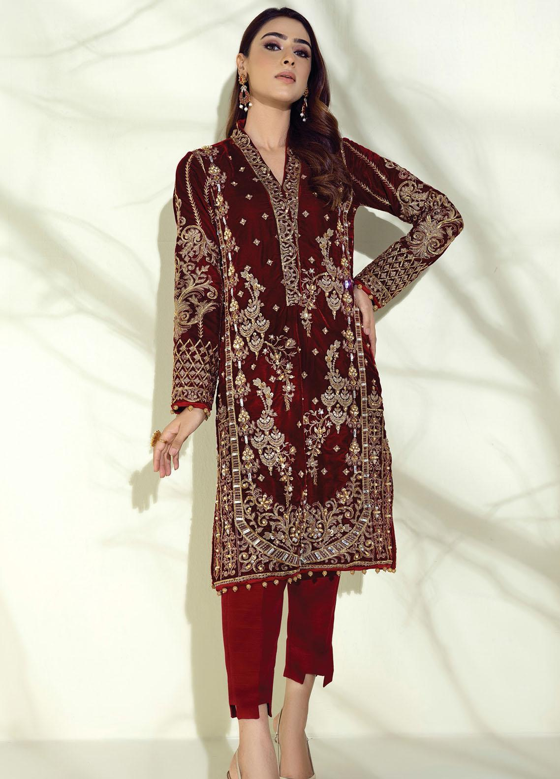 Sahiba by Gulaal Embroidered Velvet Unstitched 2 Piece Suit GL20V 02 Jardin - Wedding Collection