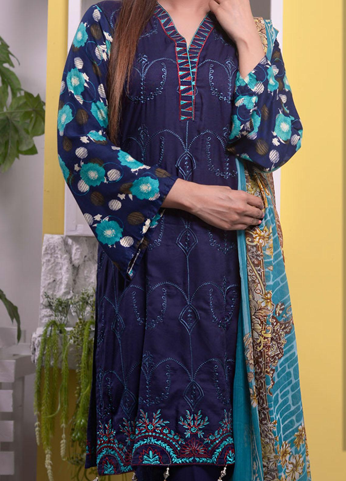 Halima Sultan Embroidered Linen Unstitched 3 Piece Suit HS20LW D-02 - Winter Collection