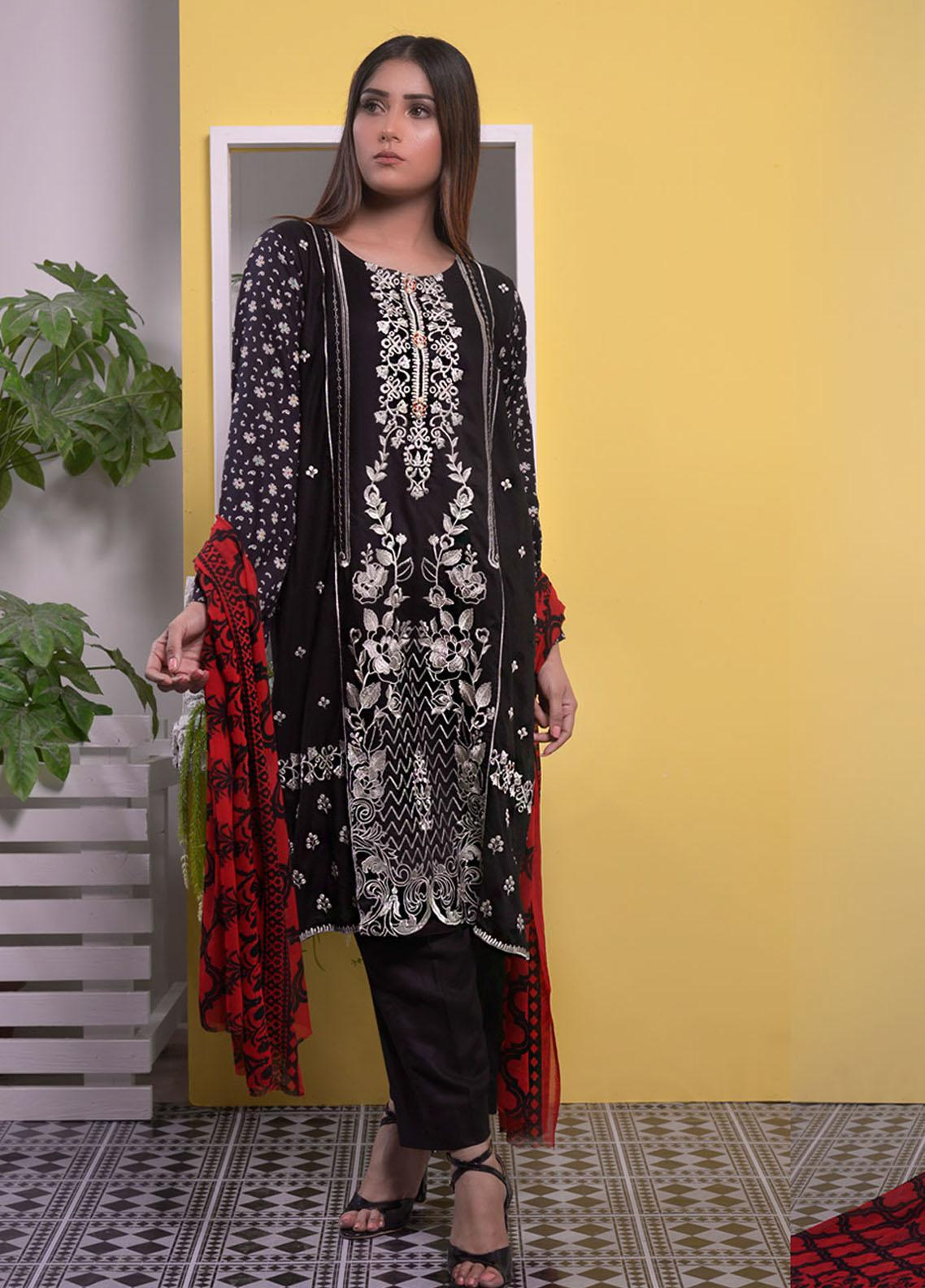 Halima Sultan Embroidered Linen Unstitched 3 Piece Suit HS20LW D-05 - Winter Collection