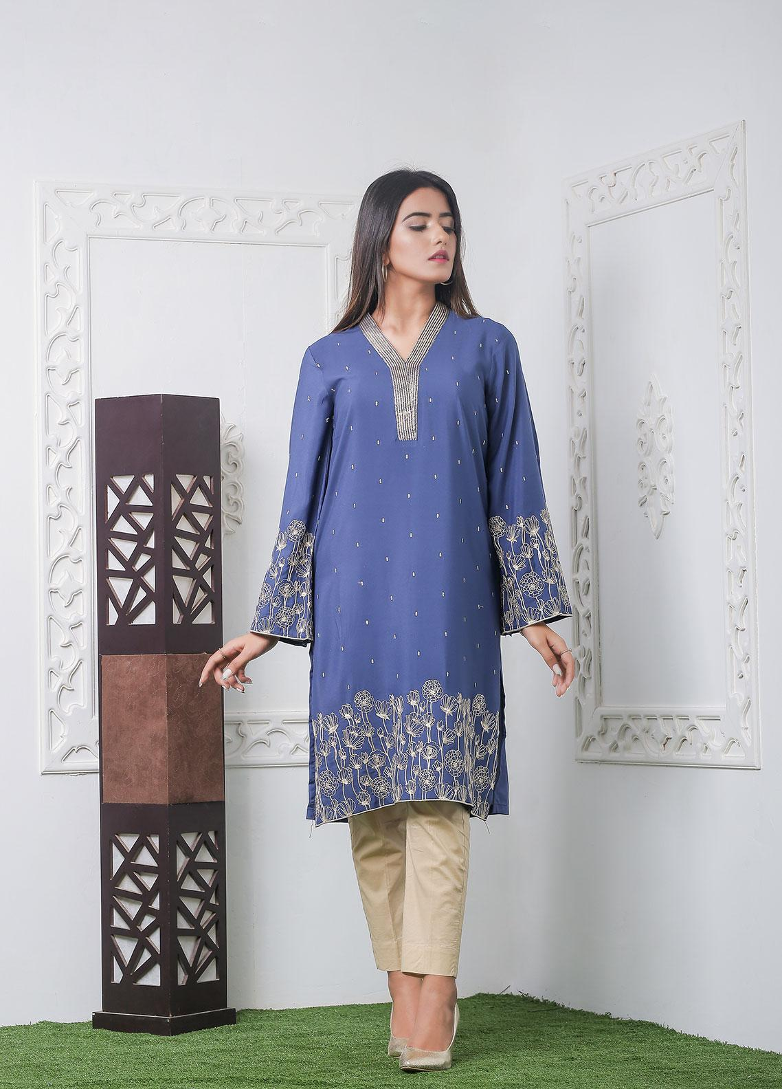 Hana Embroidered Crepe Stitched Kurties Ladies Kurti HC0044 Blue Grip-S