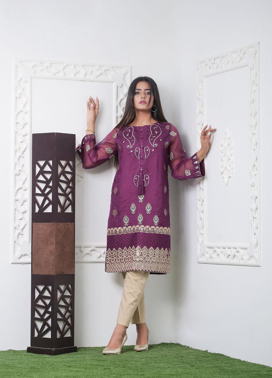 Hana Embroidered Crepe Stitched Kurties Ladies Kurti HF0016 Purpal Paisley-S