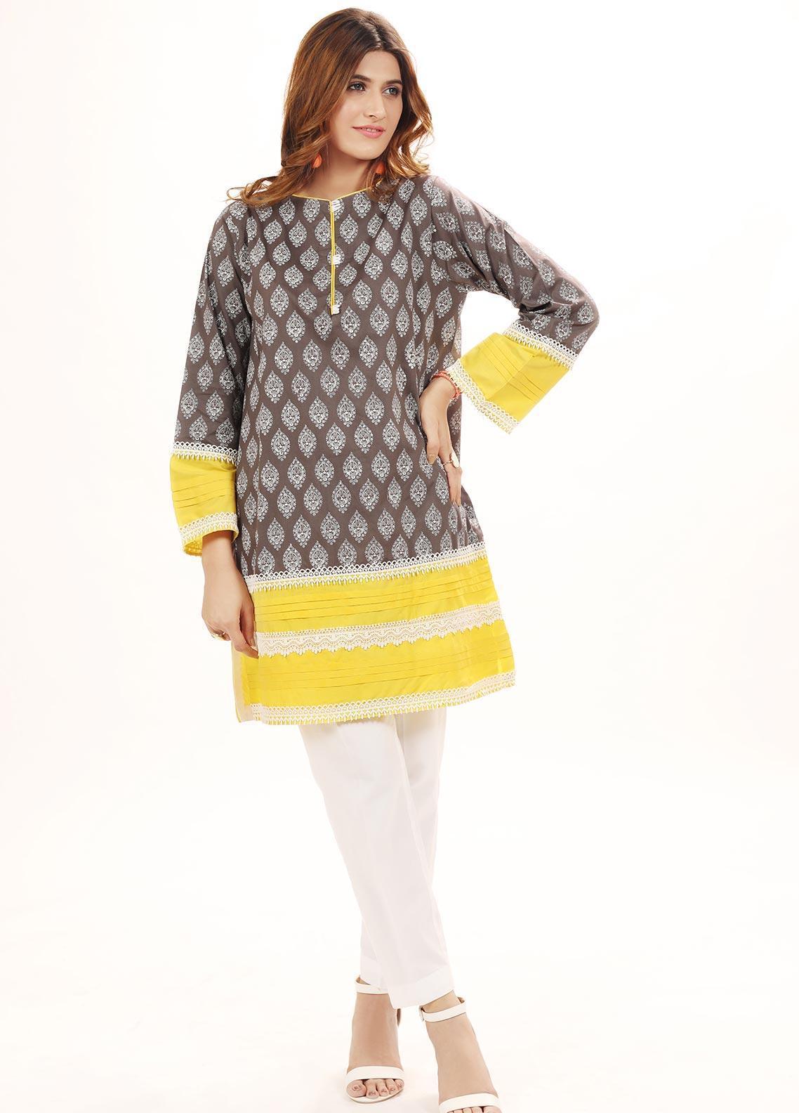 Hana Embroidered Cotton Stitched Kurtis HC0017 Grey Paisley