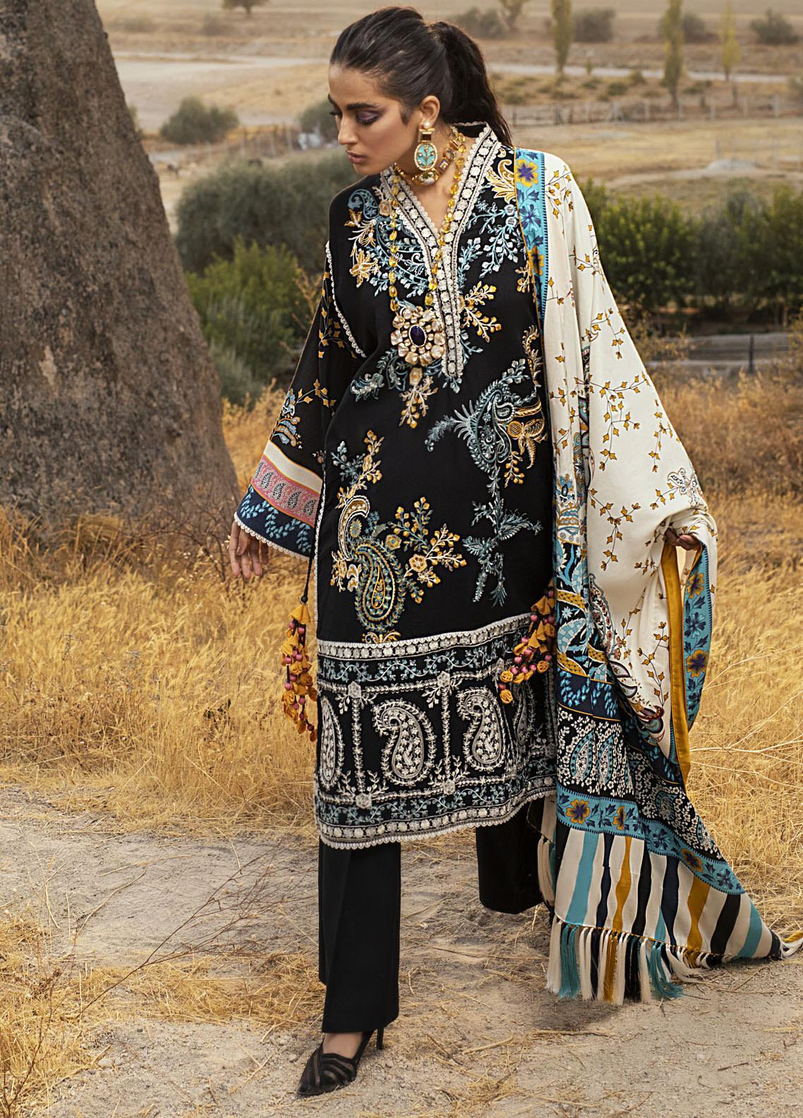 Hemline by Mushq Embroidered Linen Unstitched 3 Piece Suit MQ20HW 04 Phantom - Winter Collection