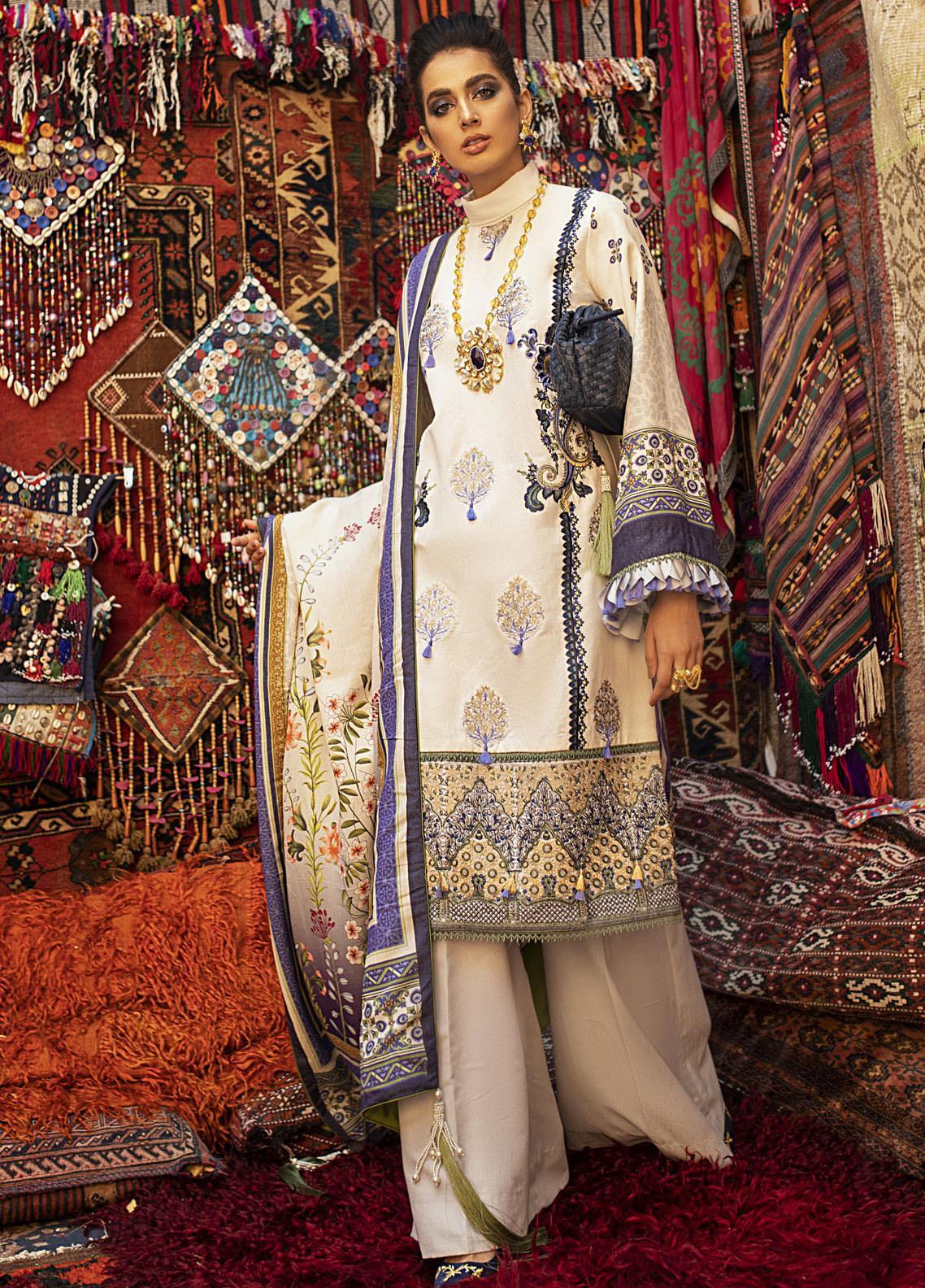 Hemline by Mushq Embroidered Karandi Unstitched 3 Piece Suit MQ20HW 09 Mirage - Winter Collection