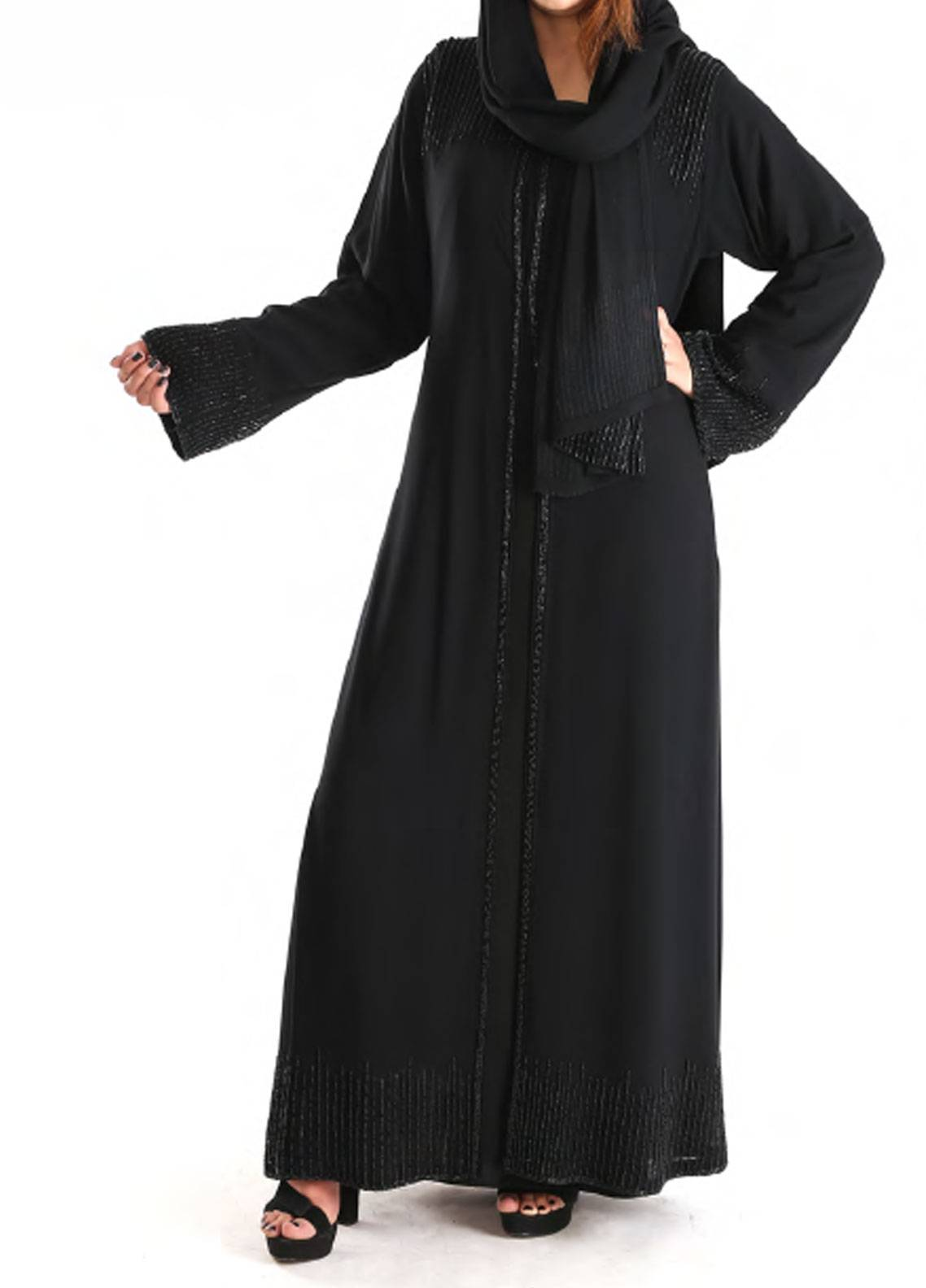 Hijab ul Hareem Formal Wool Chiffon Stitched Abaya 0121-J-995