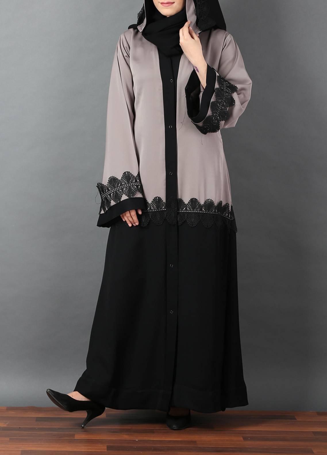 2adea9ae6992 Hijab ul Hareem Front Open Style Stitched Abaya 0116-R-A368. Online only